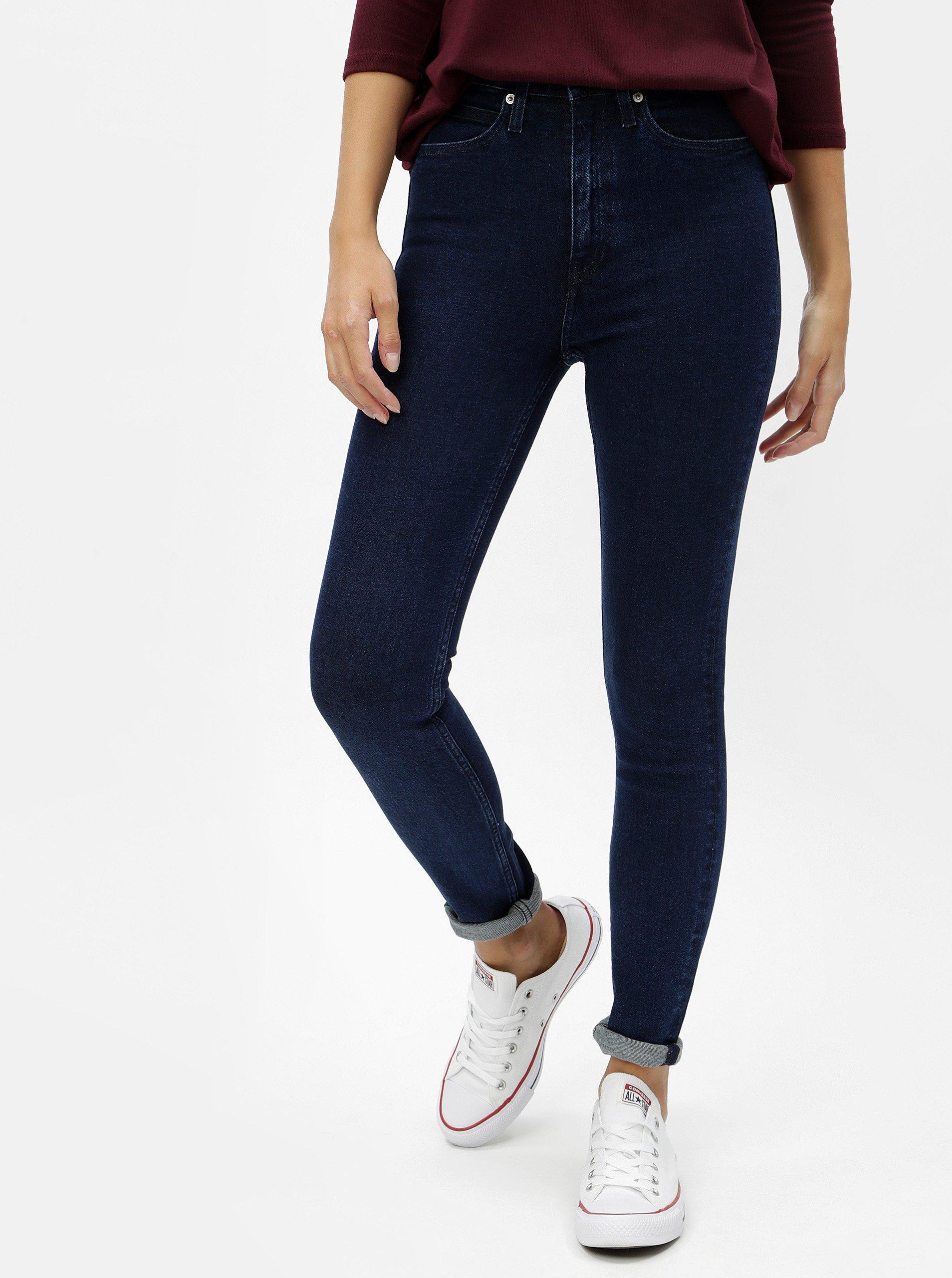Modré dámské skinny džíny s vysokým pasem Calvin Klein Jeans 518ef0df34