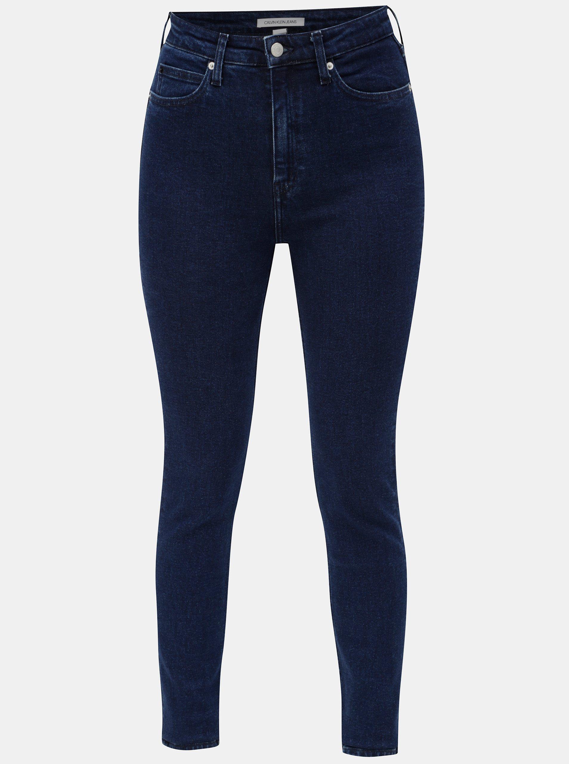Modré dámské skinny džíny s vysokým pasem Calvin Klein Jeans e7d11971a2