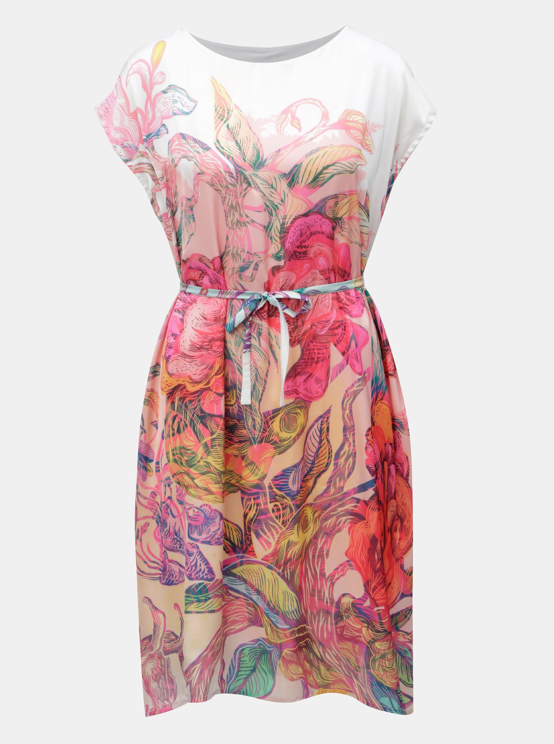d1dd0f6b103a Bielo-ružové voľné šaty s opaskom na zaväzovanie Mayda Kouzelný les