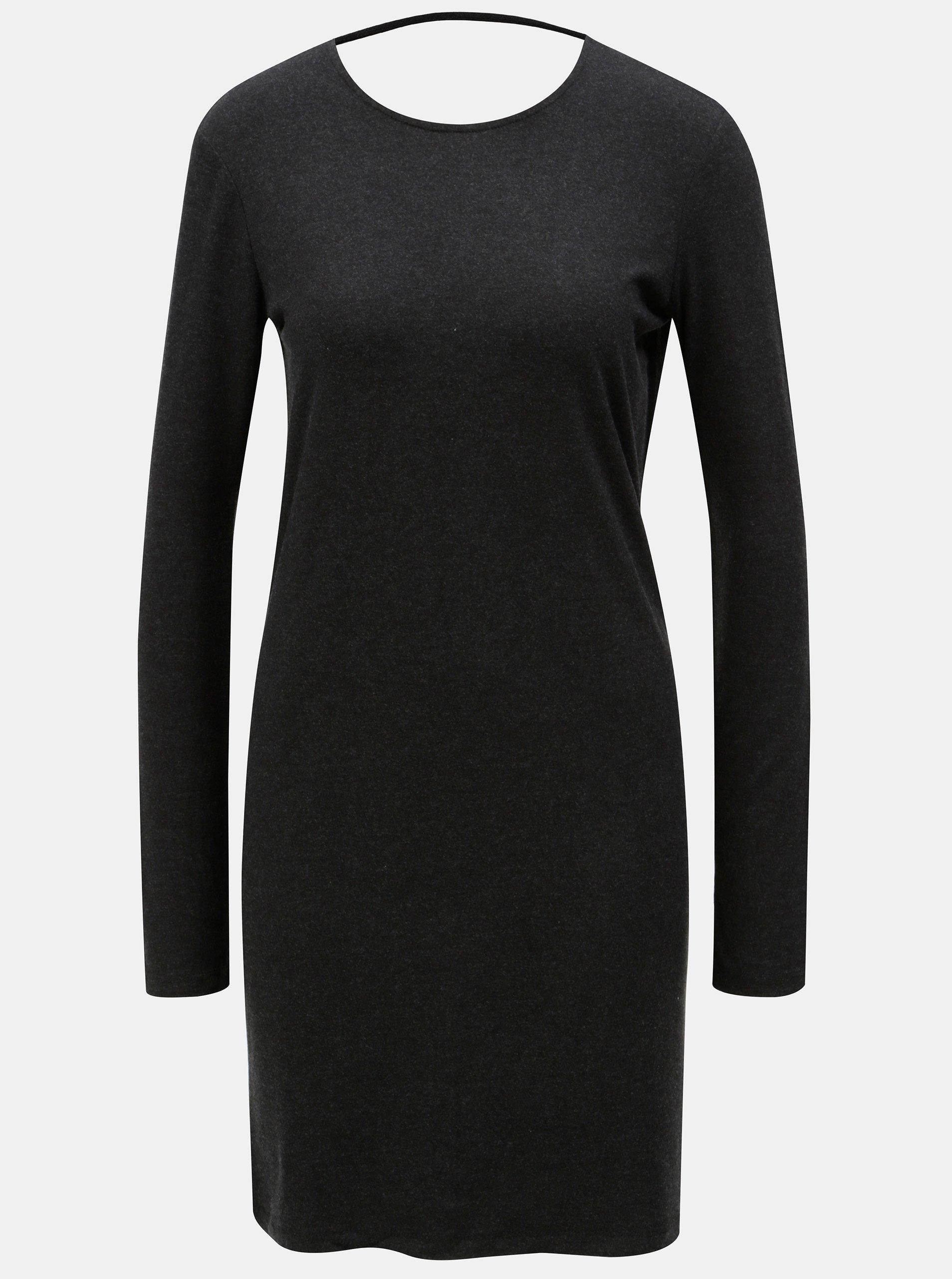 f868be3b5dbe Tmavosivé šaty s hlbokým výstrihom na chrbte Moss Copenhagen Filla
