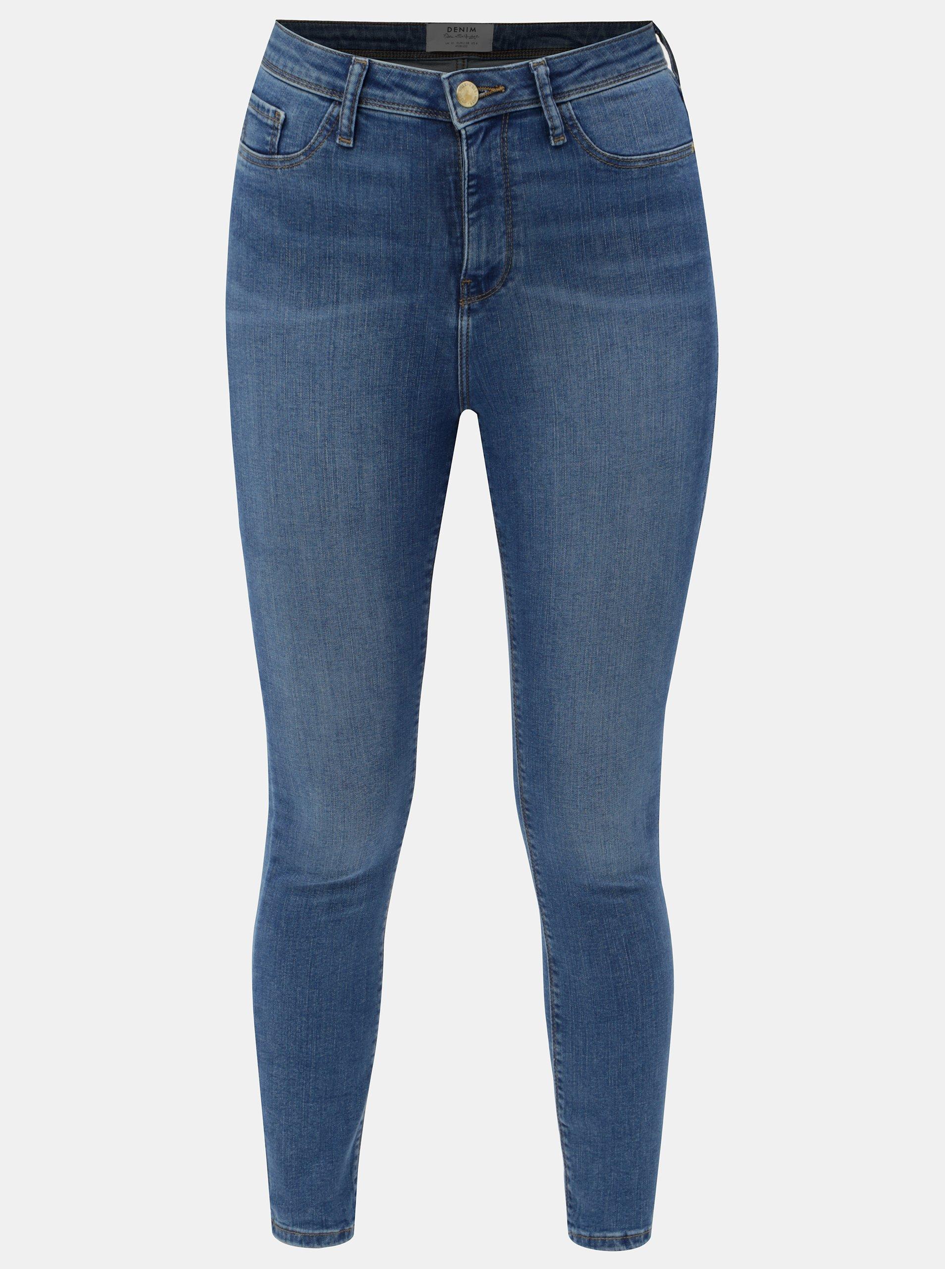 Modré skinny džíny s vysokým pasem Miss Selfridge ffcfc1b76d