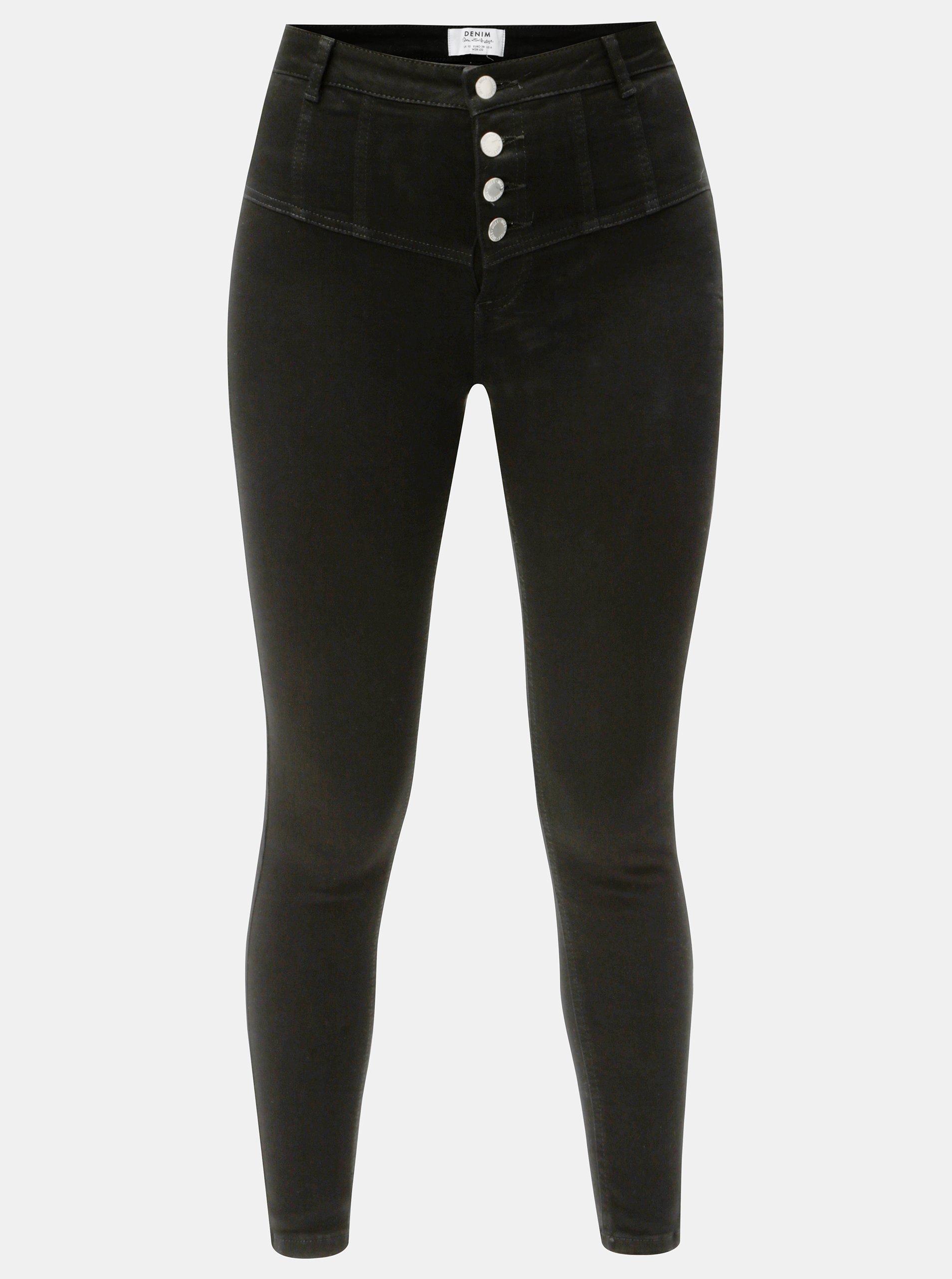 Černé skinny džíny s vysokým pasem Miss Selfridge 29b204c0af