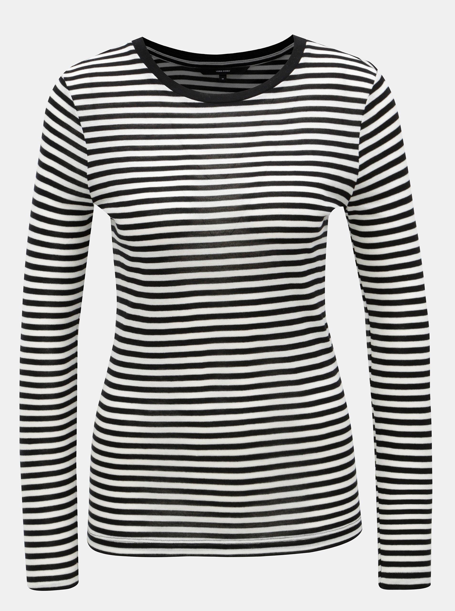 Bielo-čierne pruhované basic tričko VERO MODA Ita