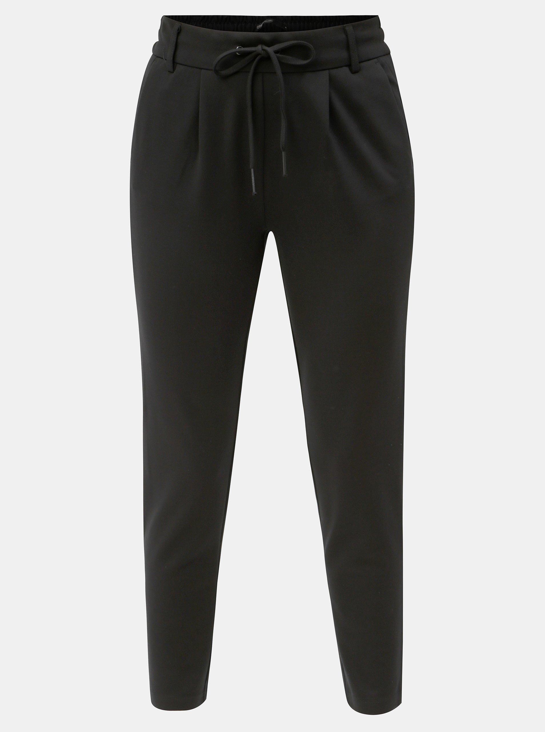 Černé zkrácené kalhoty s vysokým pasem ONLY Poptrash 28f778946c