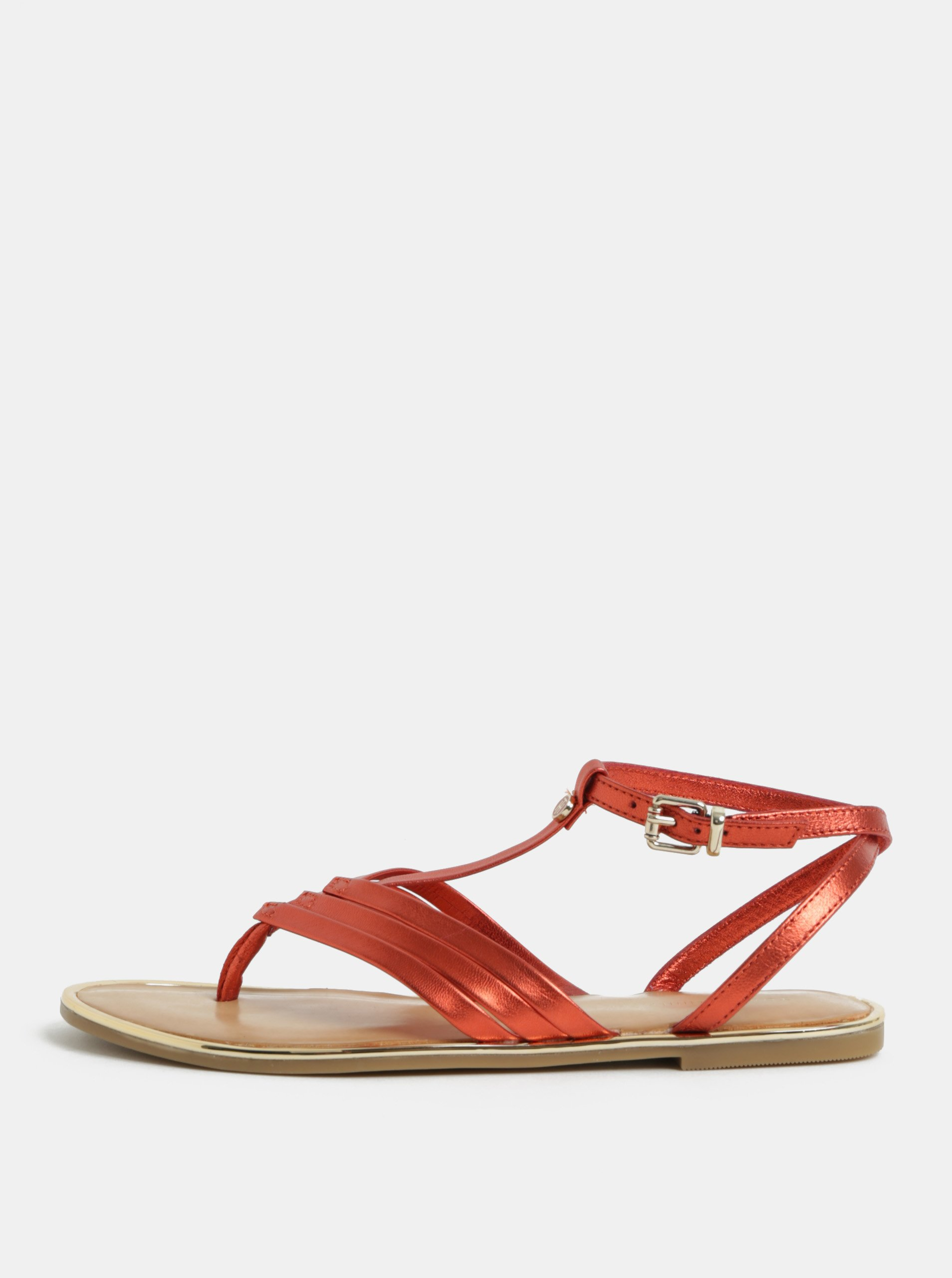 80978de499 Červené dámske kožené sandále Tommy Hilfiger