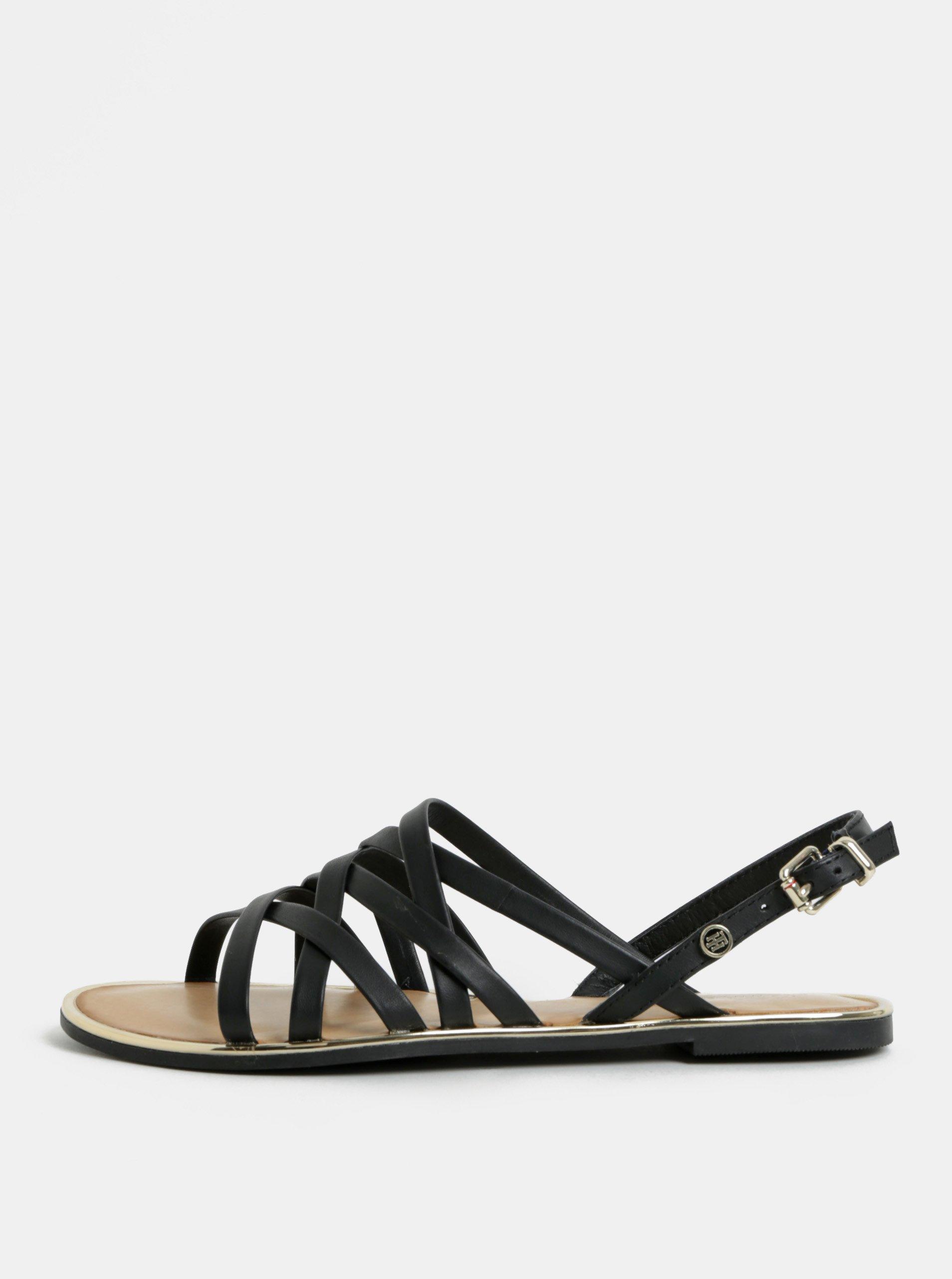 9b9e584438a1 Čierne dámske kožené sandále Tommy Hilfiger