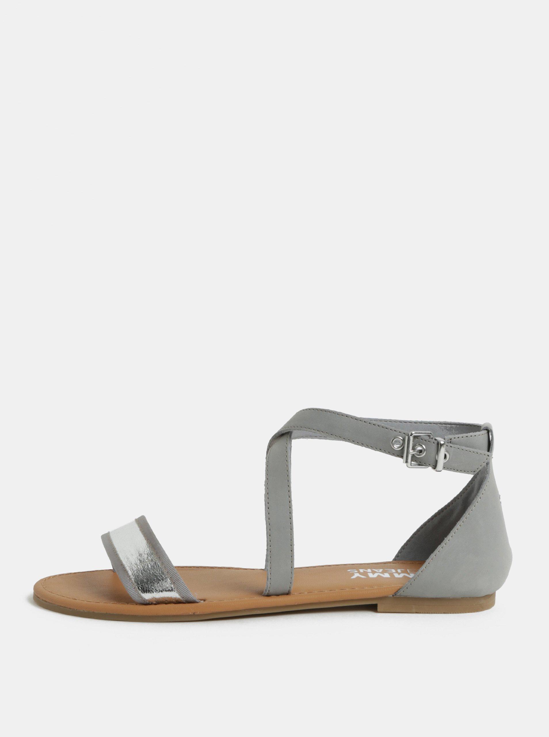 27f2d683dadb Sivé dámske kožené sandále Tommy Hilfiger