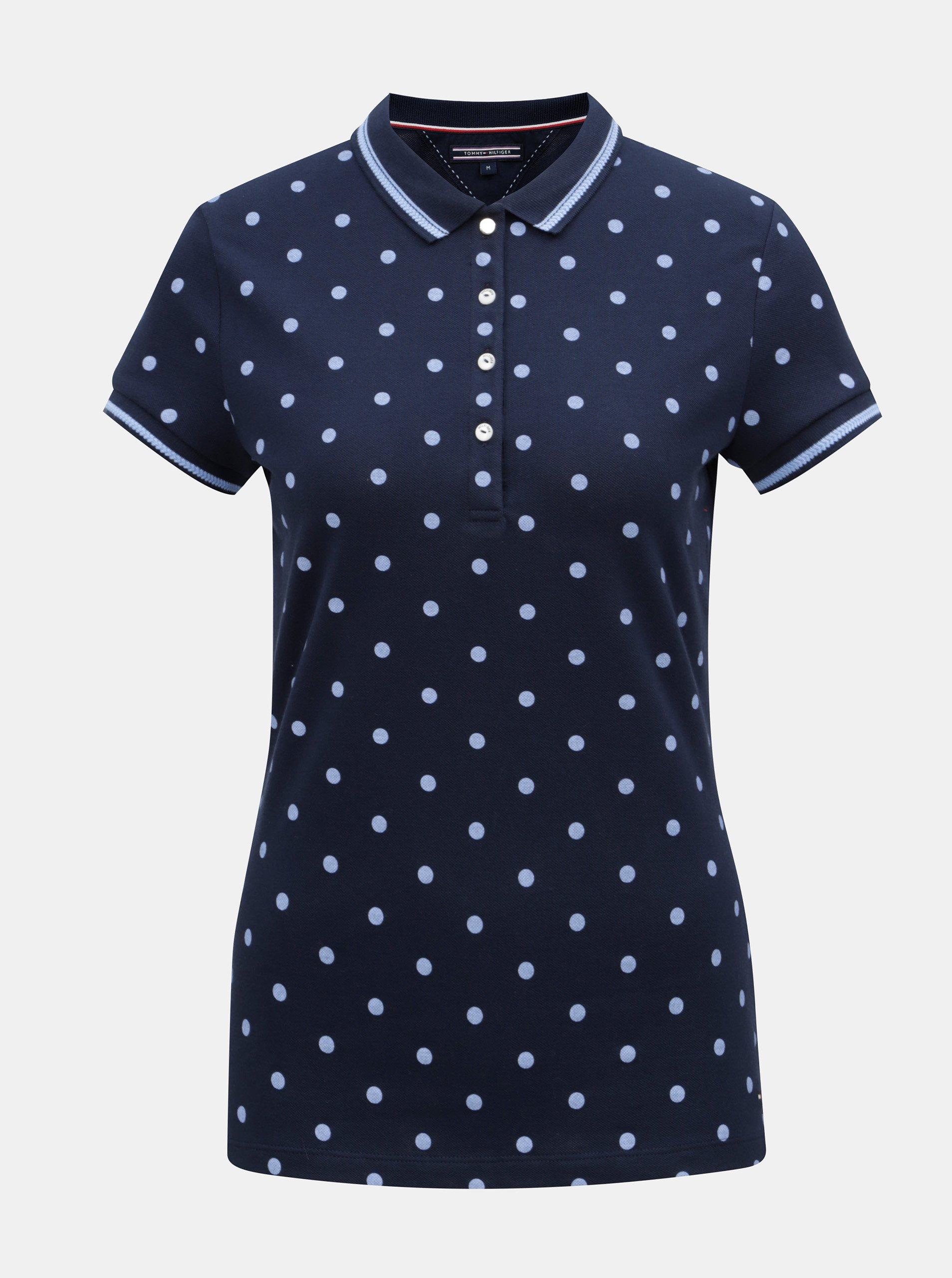 Modré dámské puntíkované polo tričko Tommy Hilfiger 8c44d7534b