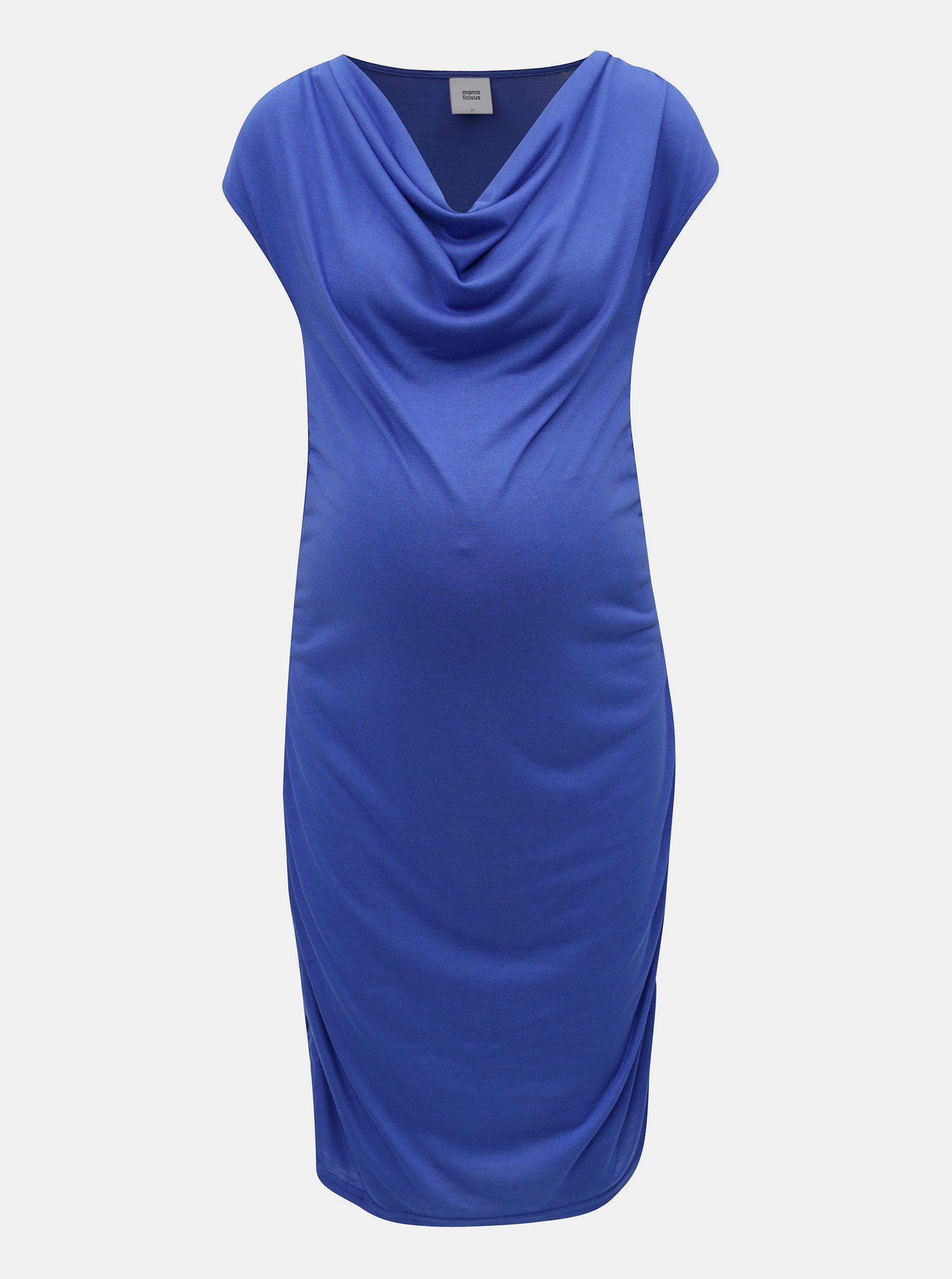 Modré tehotenské puzdrové šaty Mama.licious 57c4bdd802e