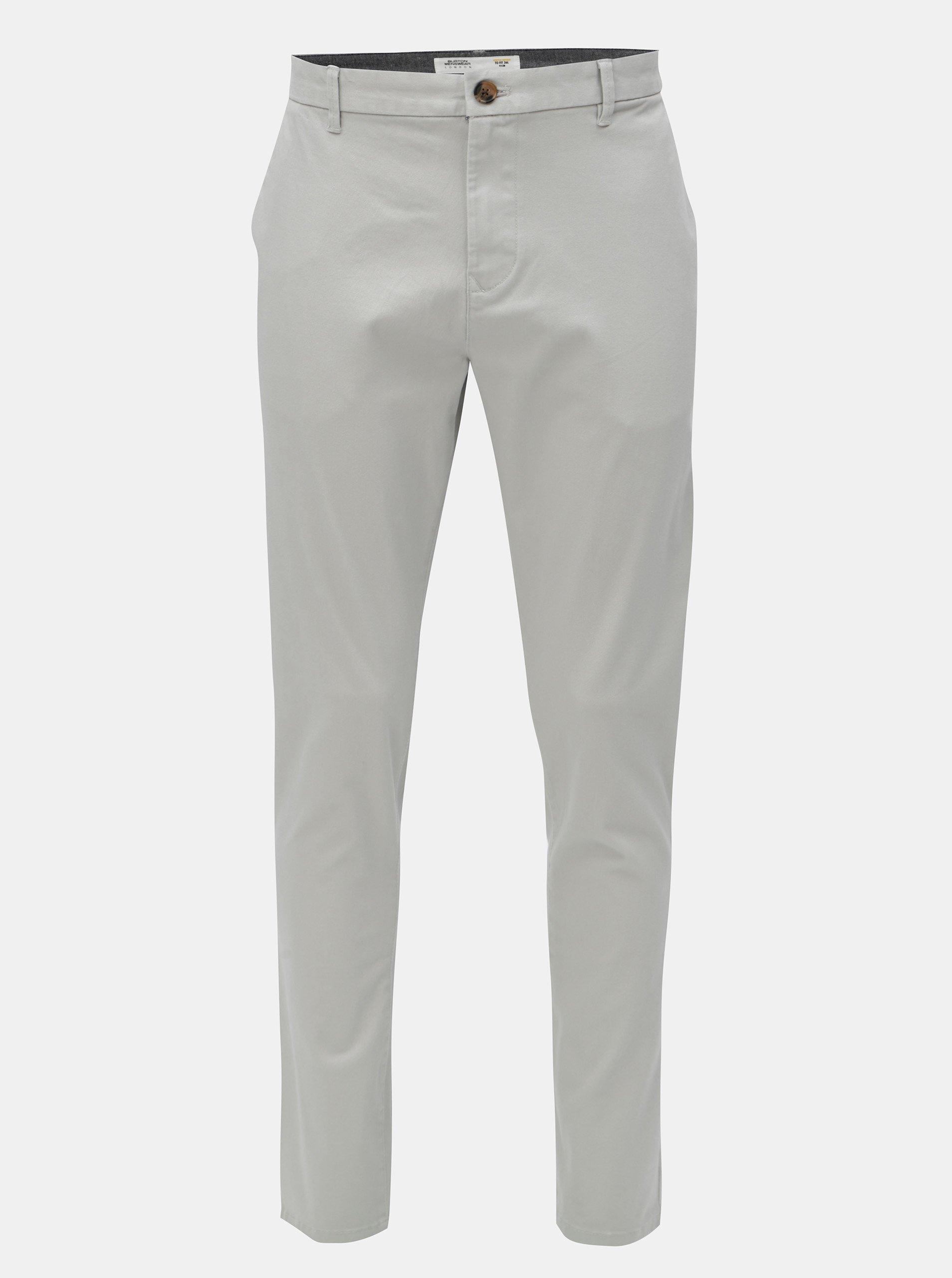 Světle šedé tapered fit kalhoty Burton Menswear London