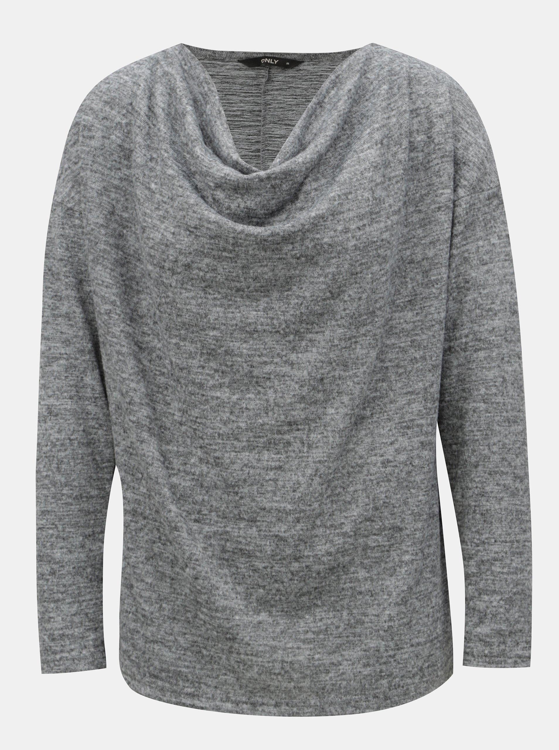 Sivý melírovaný sveter s dlhým rukávom ONLY Elcos