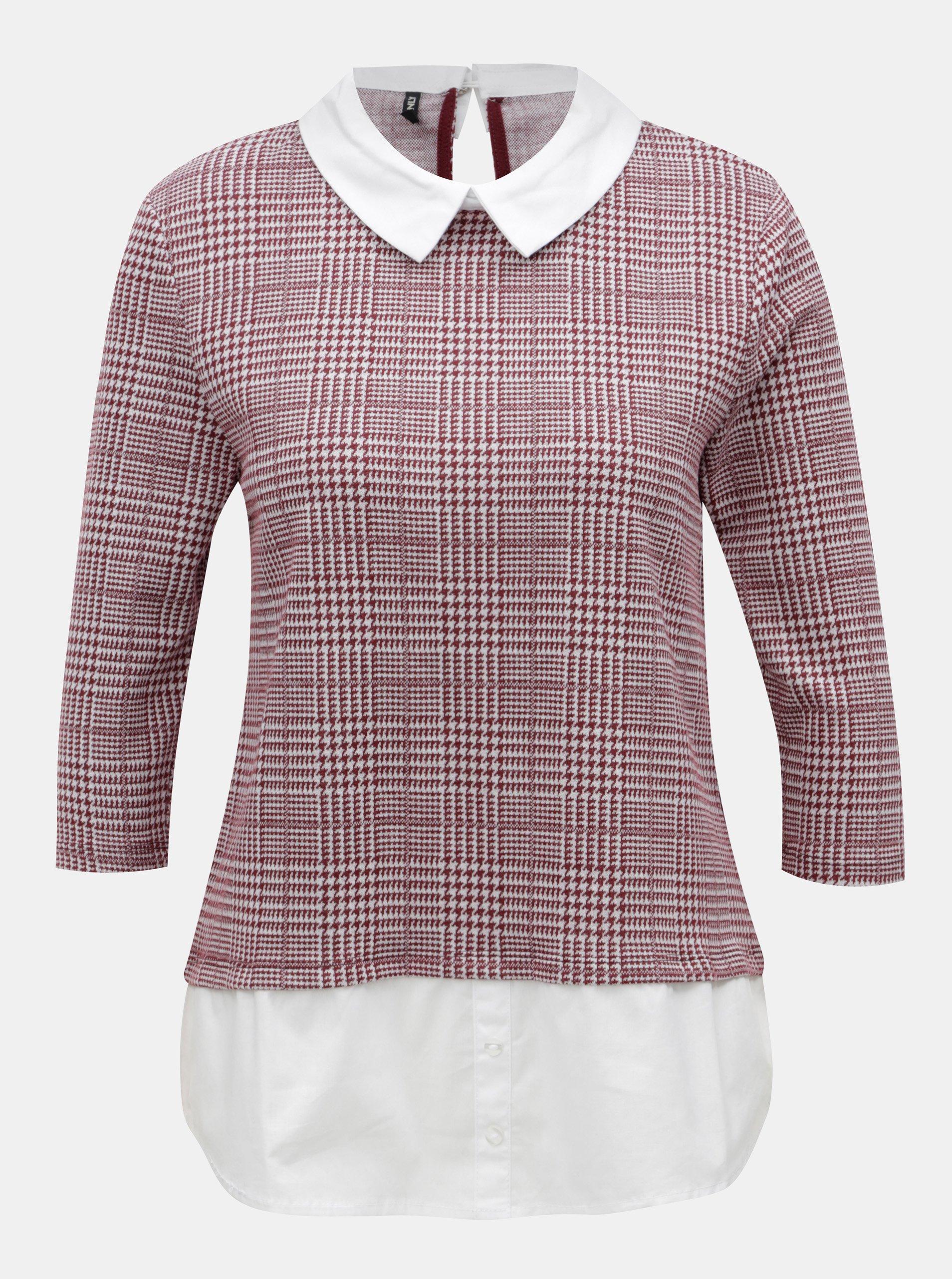 Krémovo-vínové tričko s všitým košilovým dílem ONLY Selma