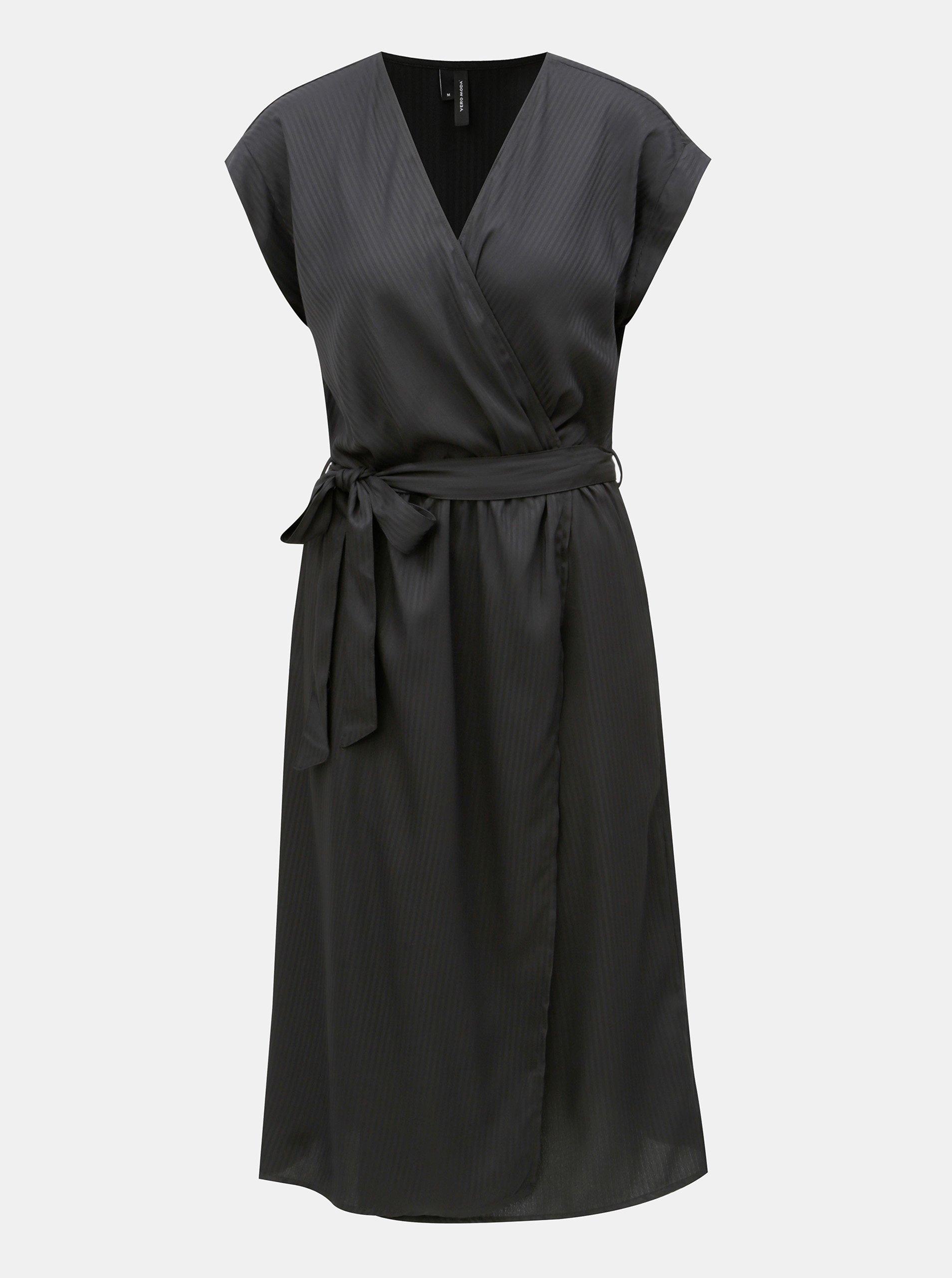 Čierne pruhované šaty s prekladanou prednou časťou VERO MODA