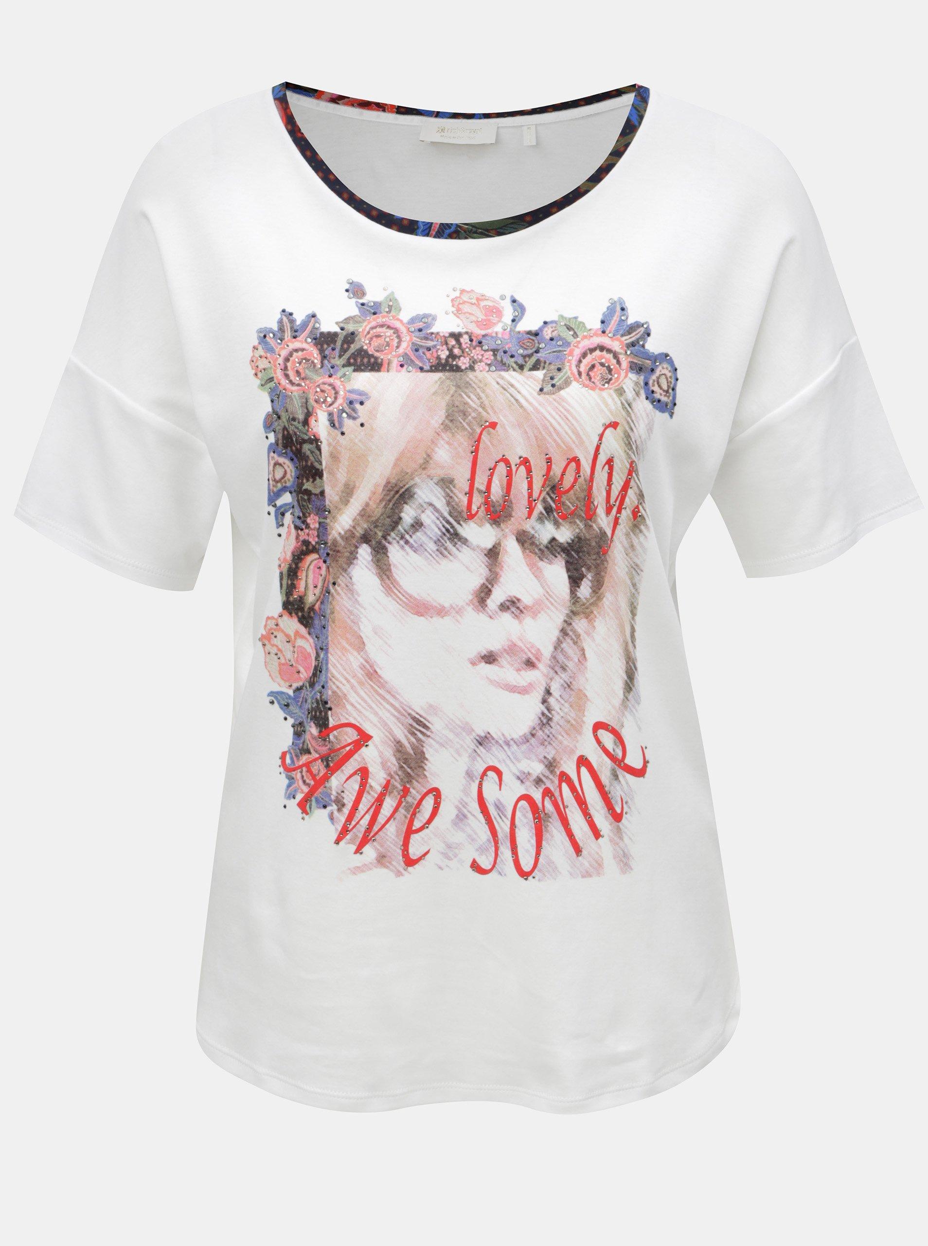 Bílé volné tričko s potiskem a kamínky Rich & Royal