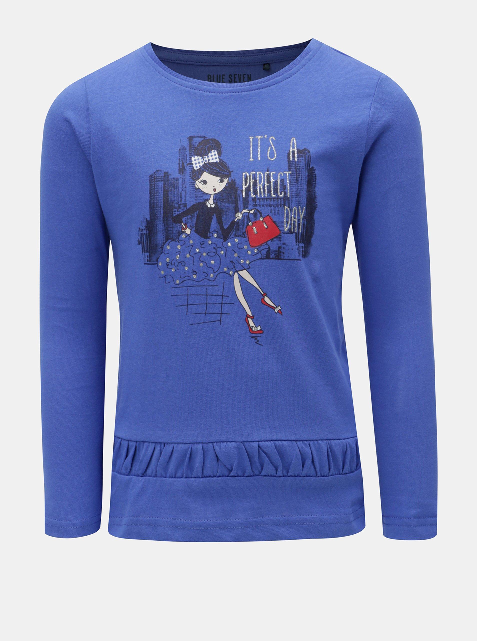 8646ffd93b08 Modré dievčenské tričko s potlačou Blue Seven