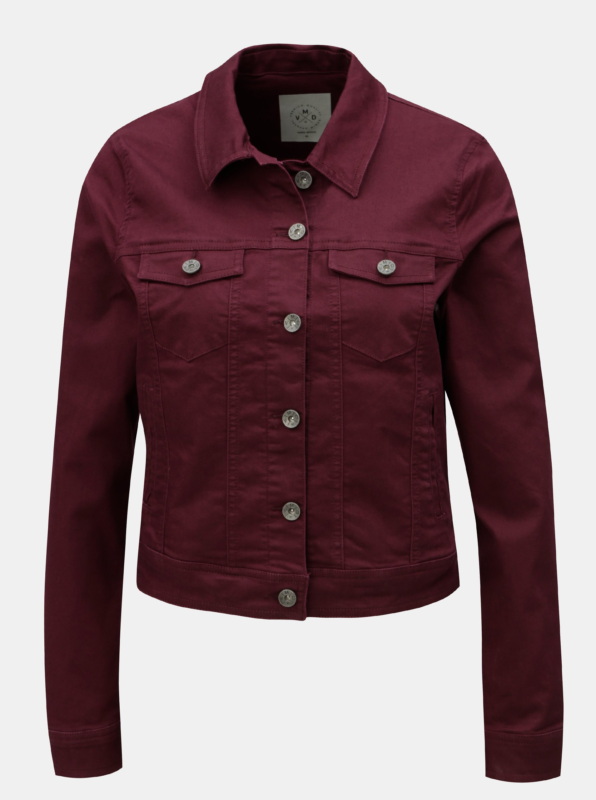 Vínová krátká džínová bunda VERO MODA