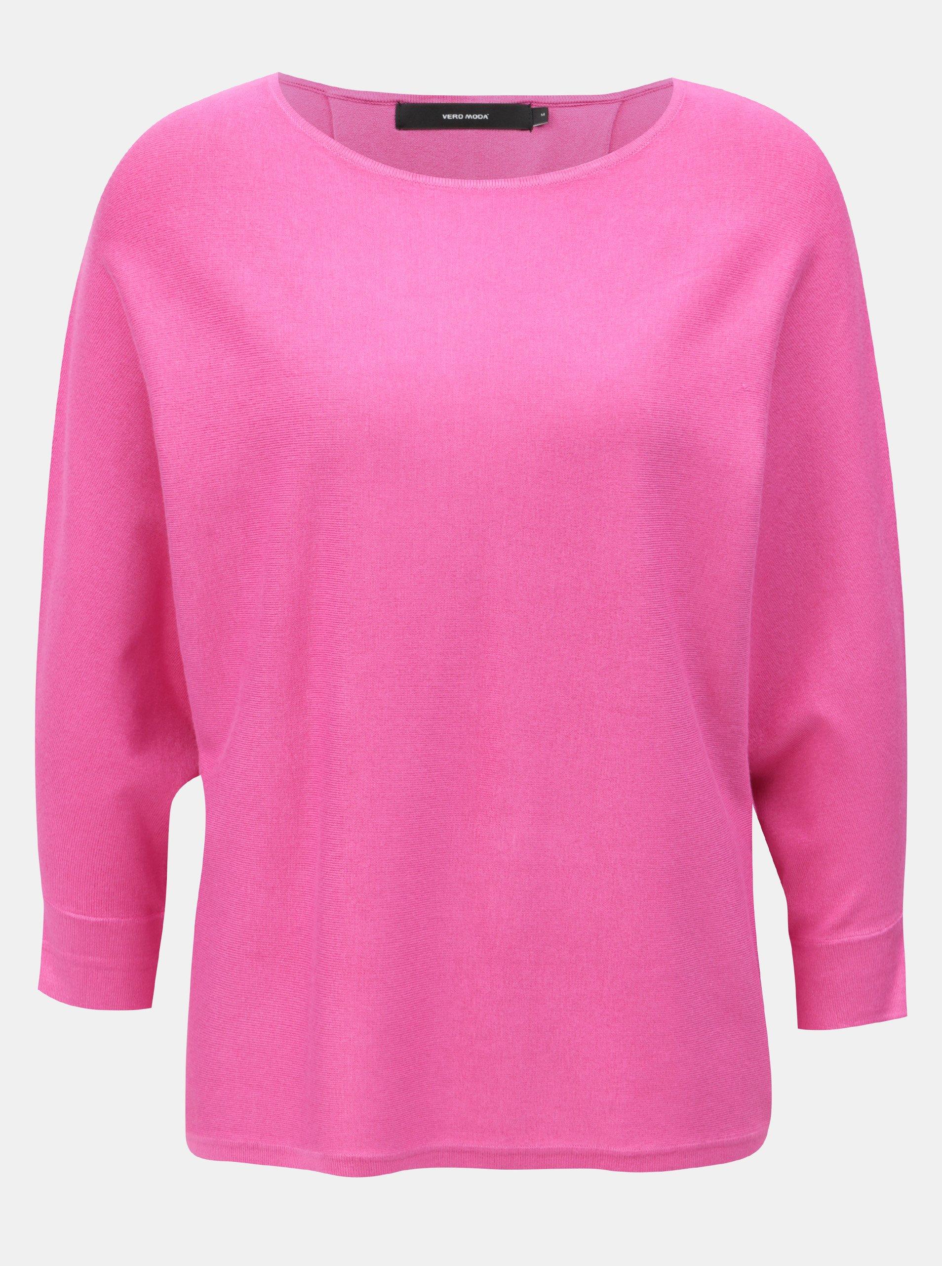 Ružový tenký voľný sveter s 3/4 rukávom VERO MODA