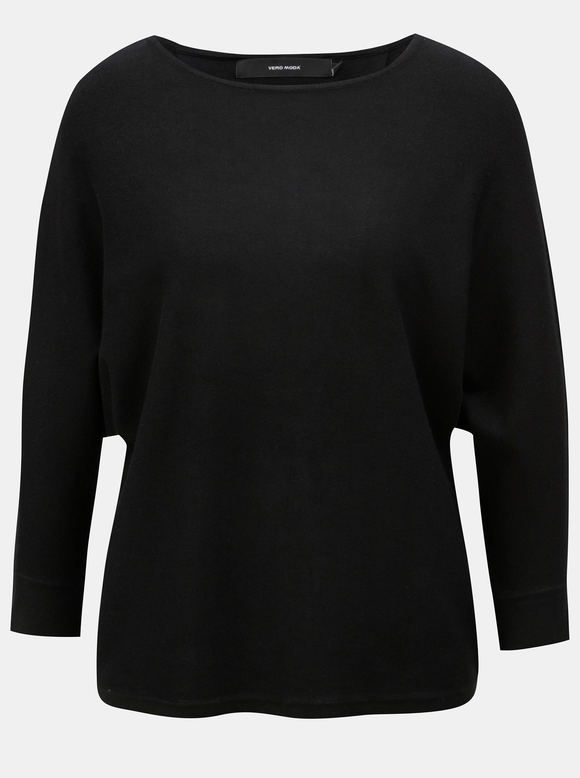 Čierny tenký voľný sveter s 3/4 rukávem VERO MODA