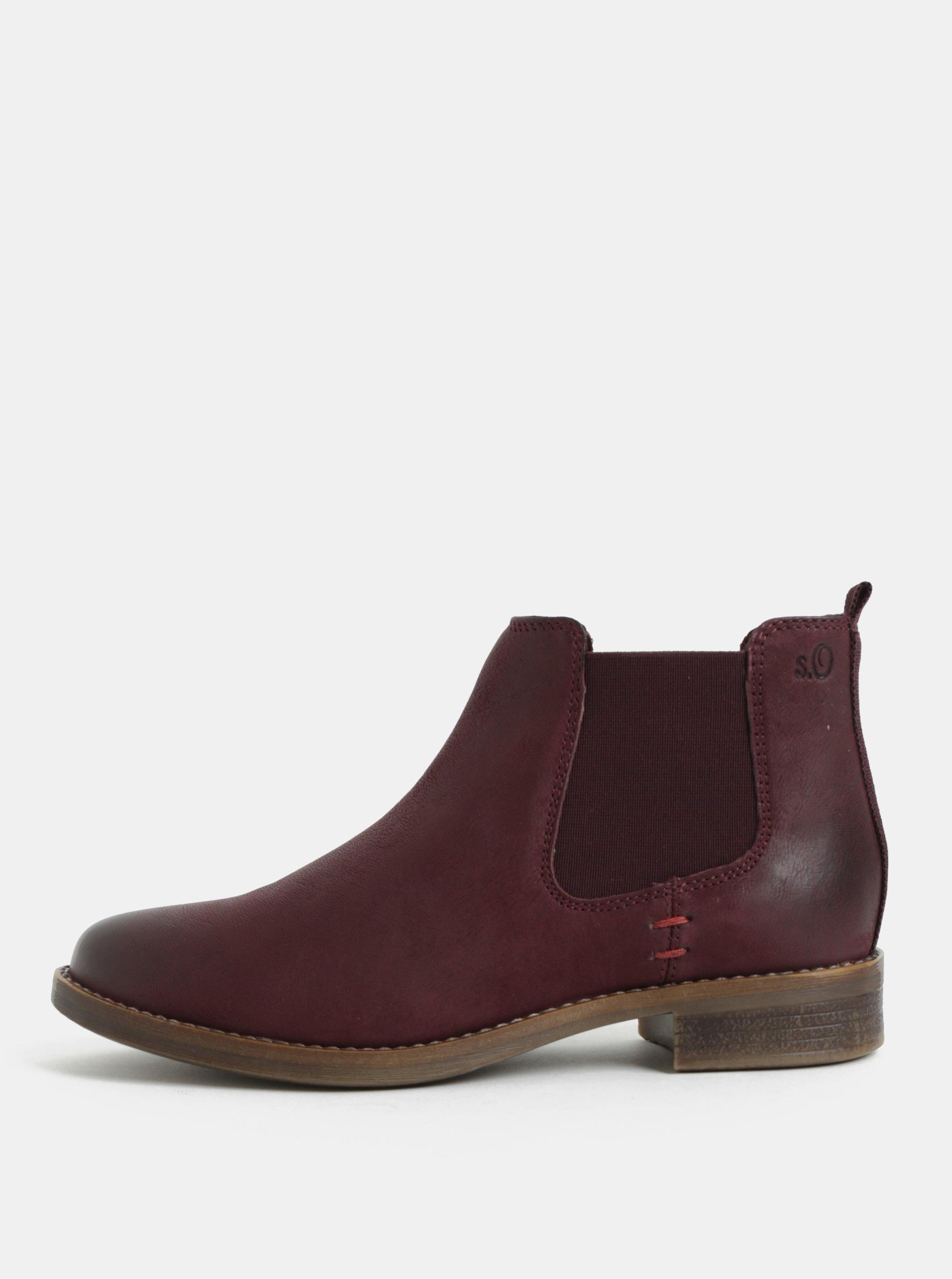 Vínové kožené chelsea topánky S.Oliver