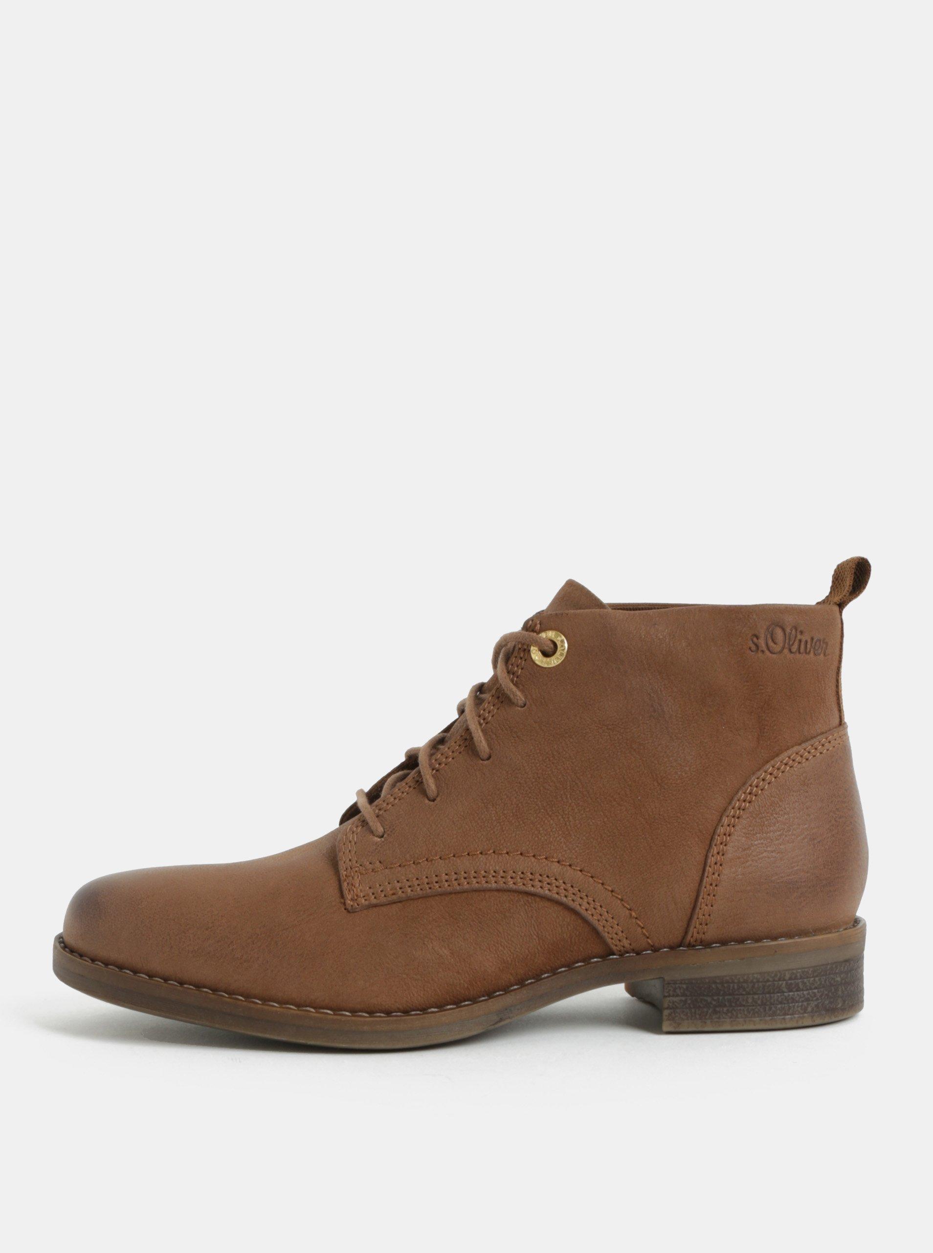Hnedé kožené členkové topánky s.Oliver
