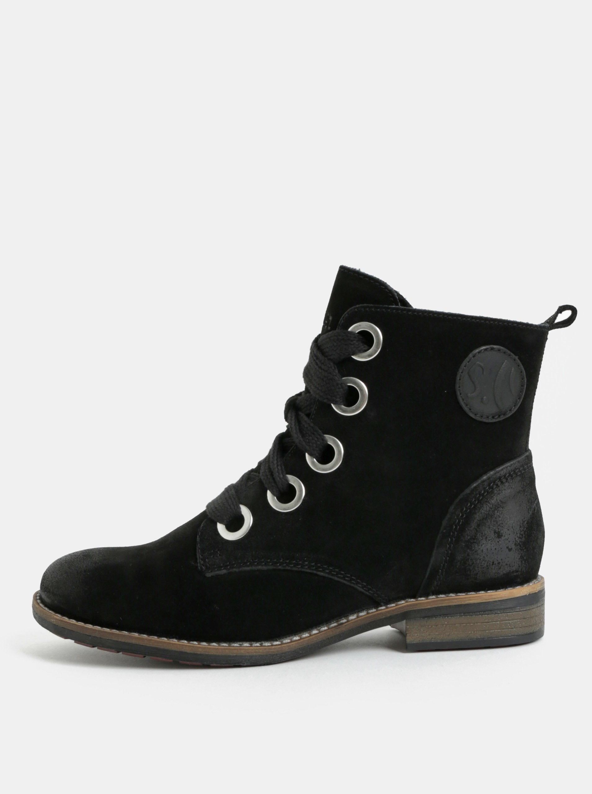 Čierne semišové členkové topánky s.Oliver