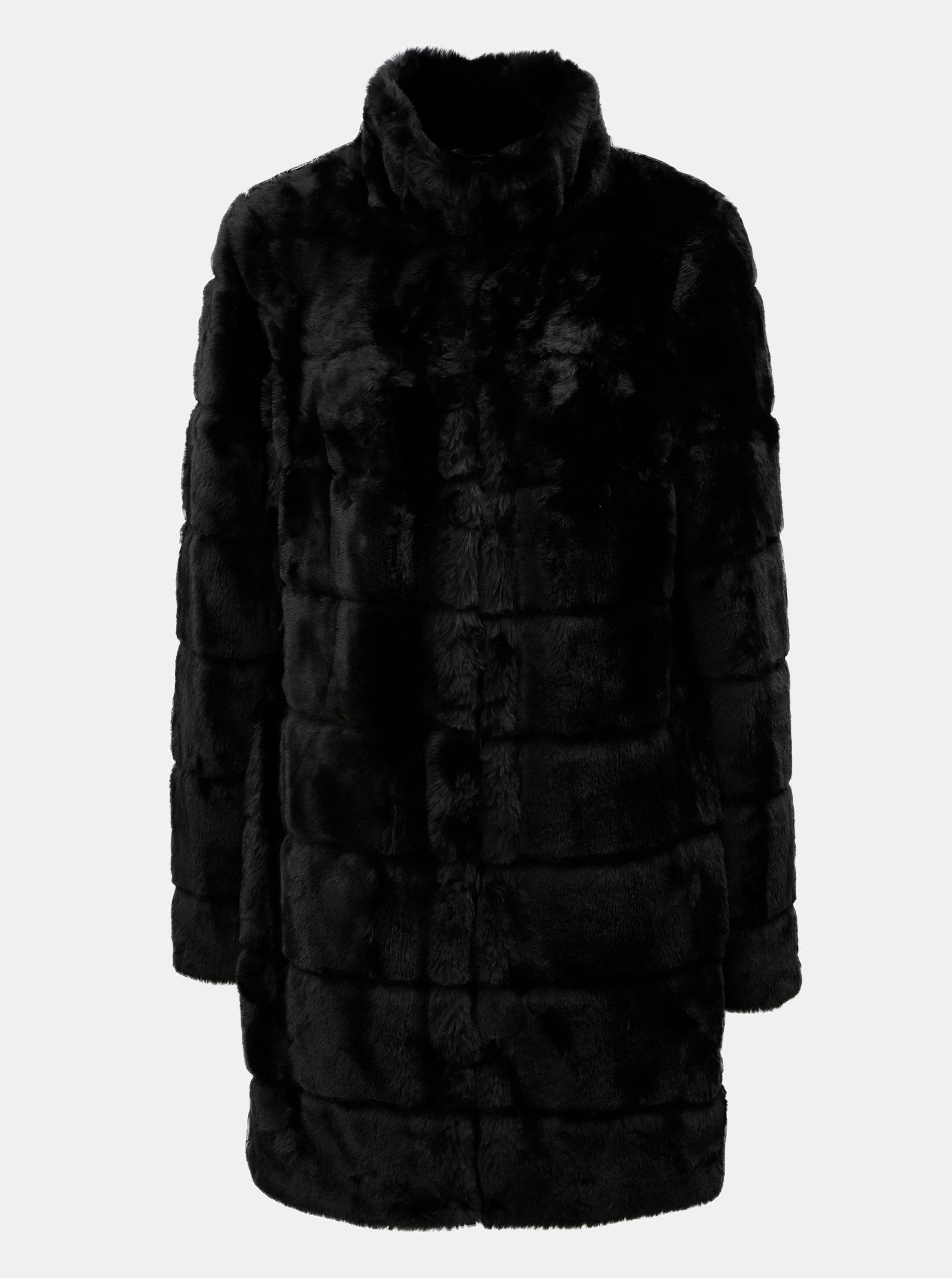 Černý kabát z umělé kožešiny Dorothy Perkins