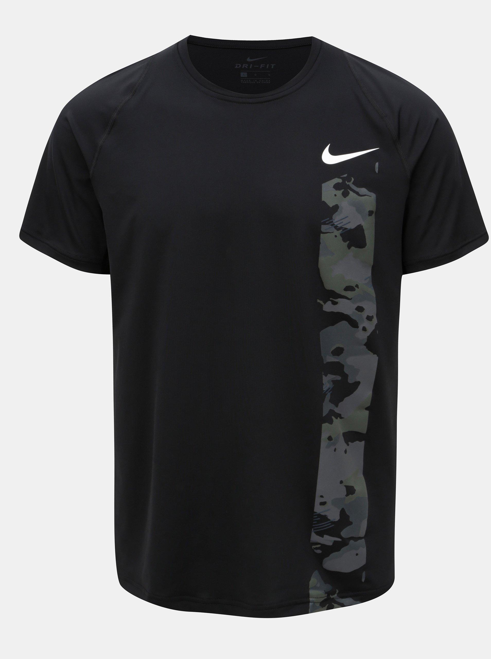 Černé pánské funkční slim fit tričko s potiskem Nike