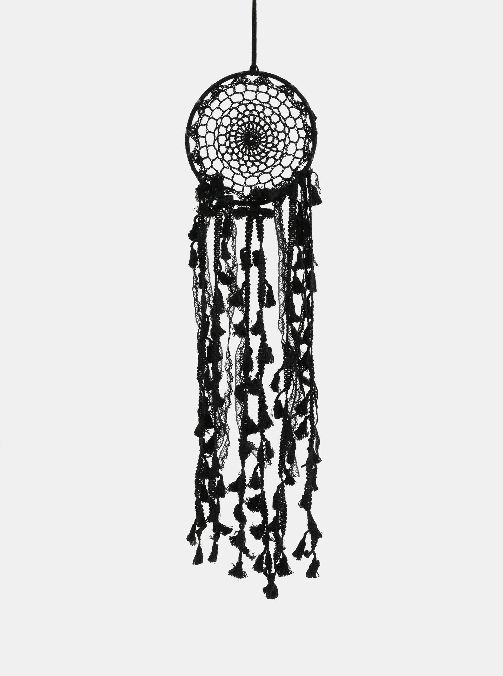 Černý lapač snů s třásněmi Sass & Belle Boho Macramé