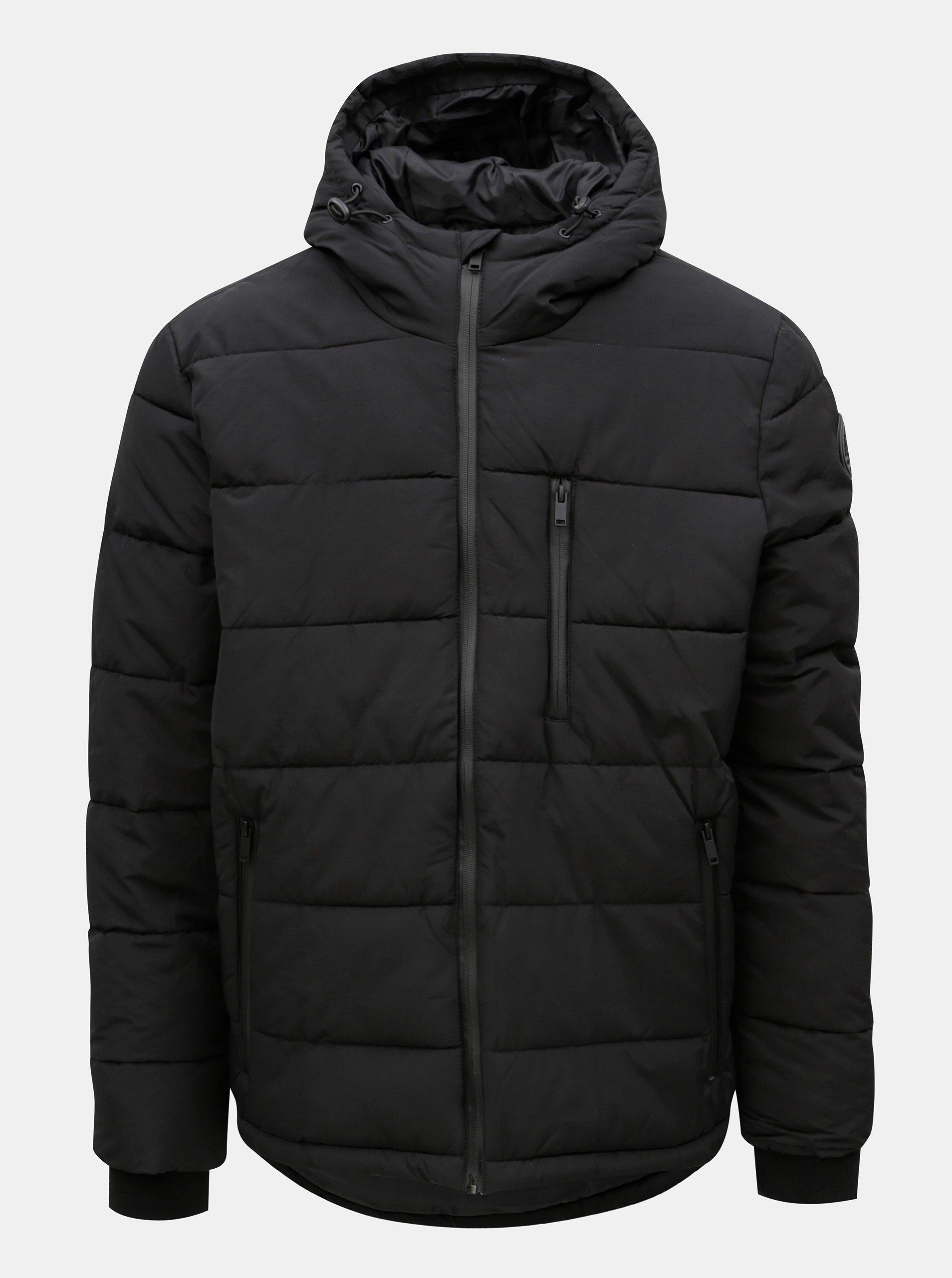 Čierna zimná prešívaná bunda s kapucňou Burton Menswear London