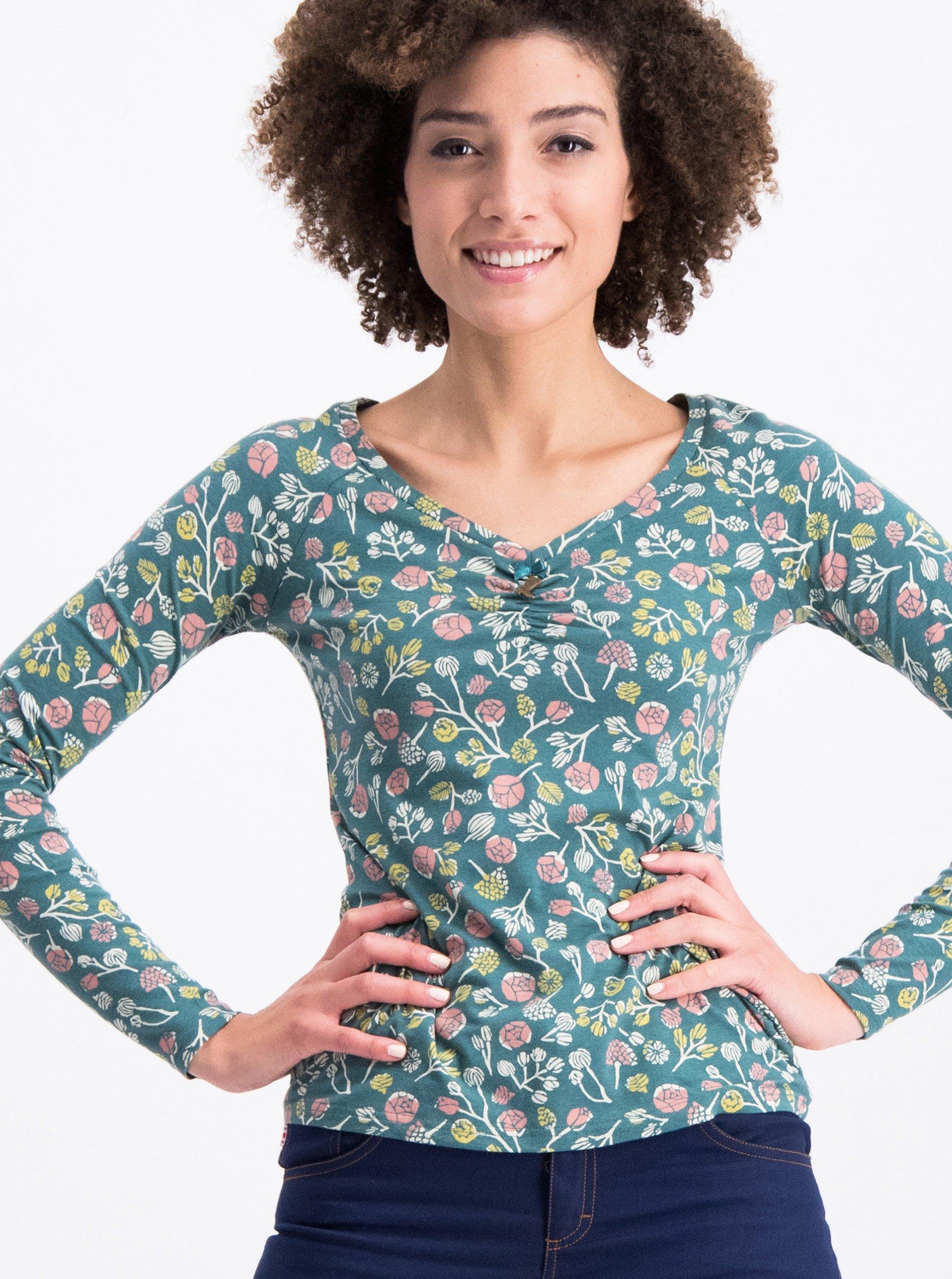151af7026a8f Zelené kvetované tričko s dlhým rukávom Blutsgeschwister