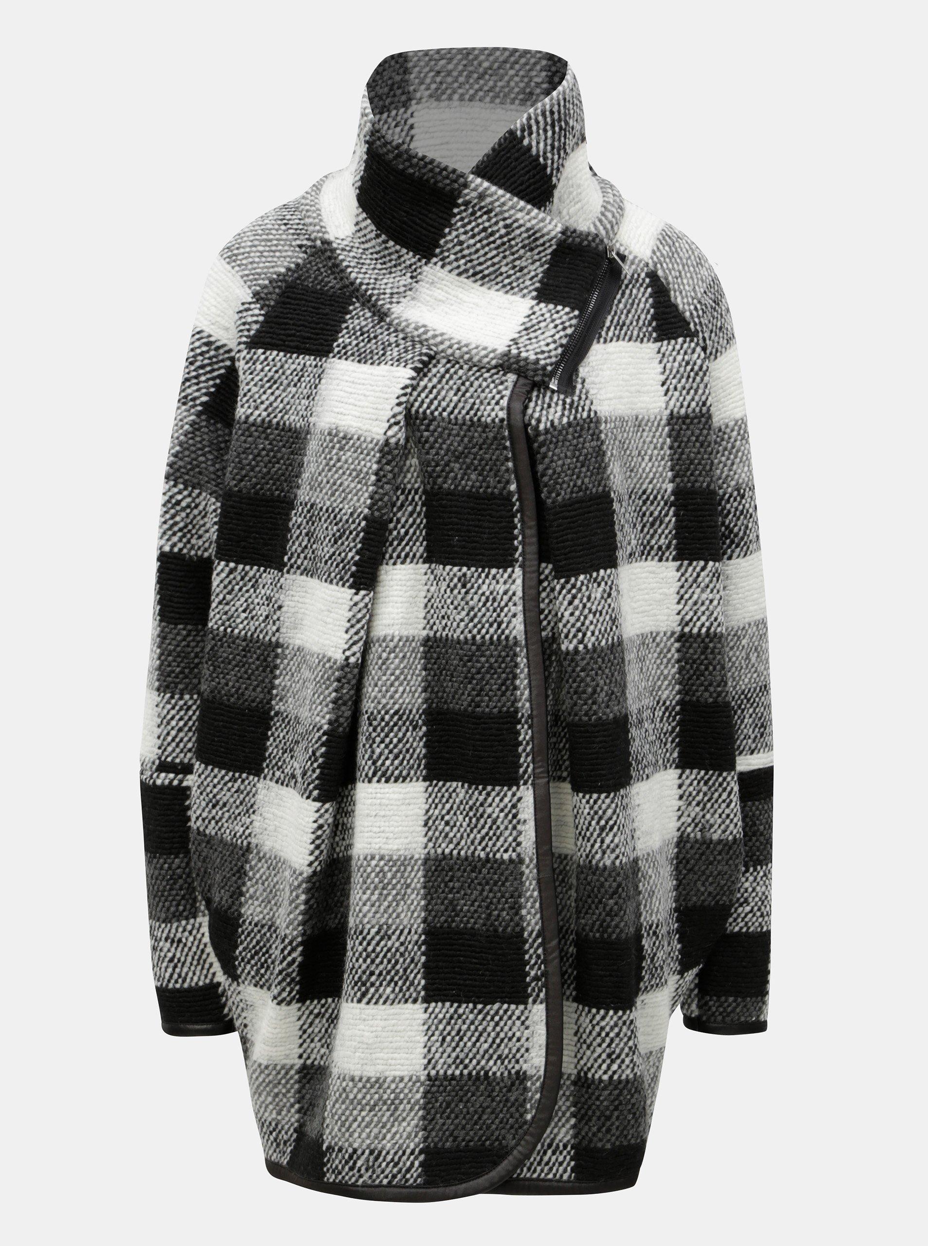 Krémovo-černý dámský vzorovaný kabát Broadway Maisy