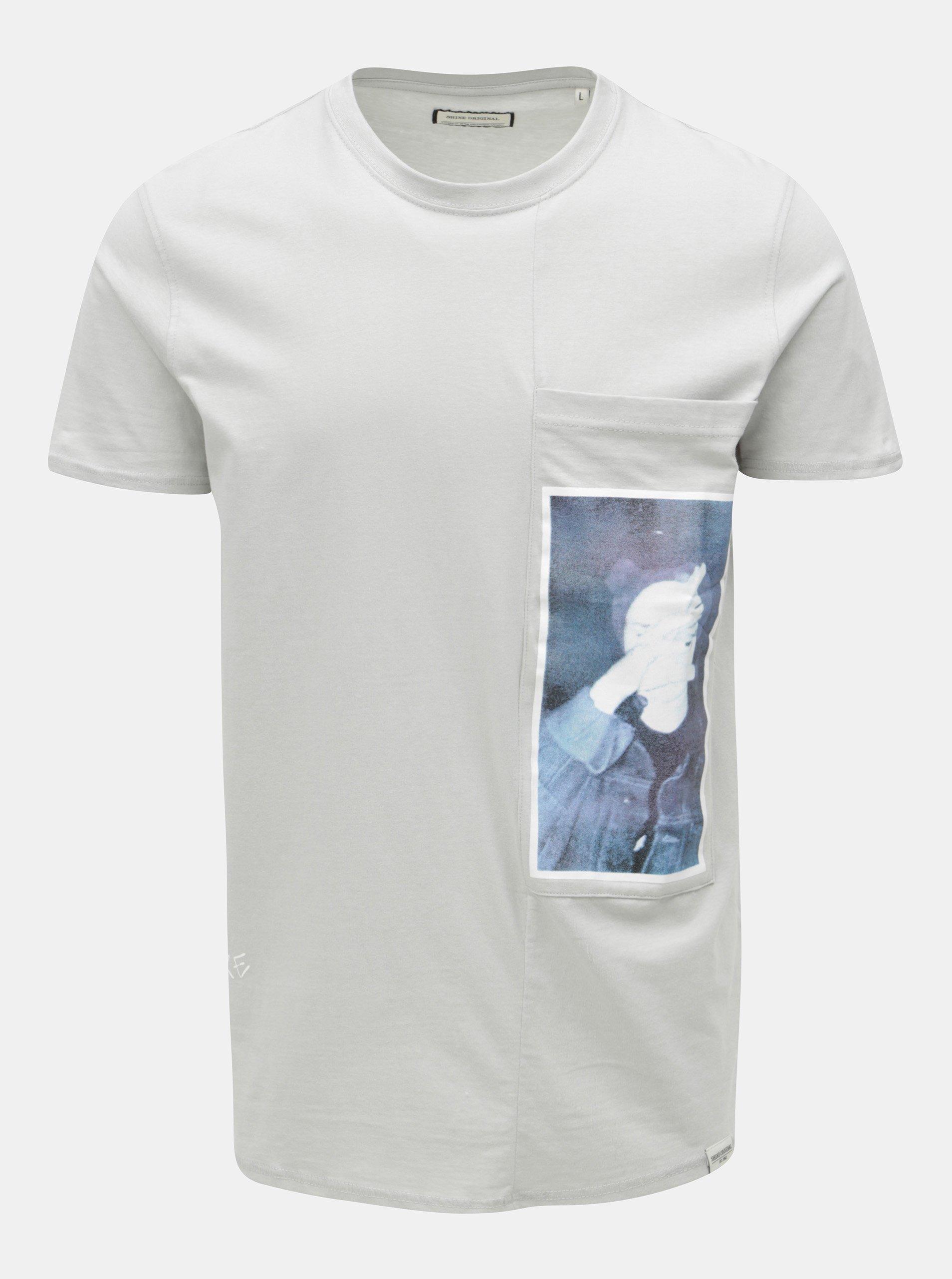Šedé tričko s potiskem a náprsní kapsou Shine Original