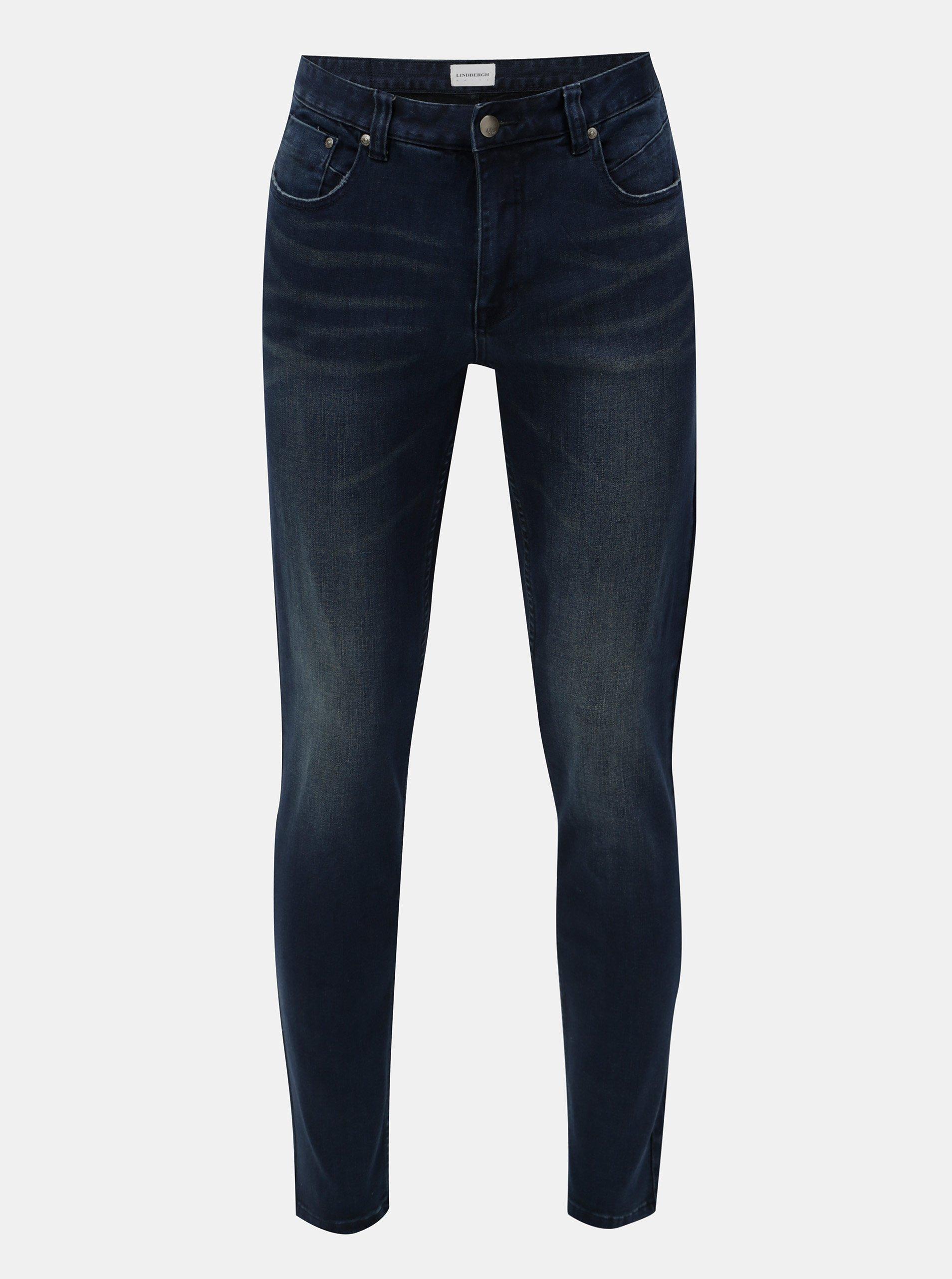 Tmavě modré slim džíny s vyšisovaným efektem Lindbergh