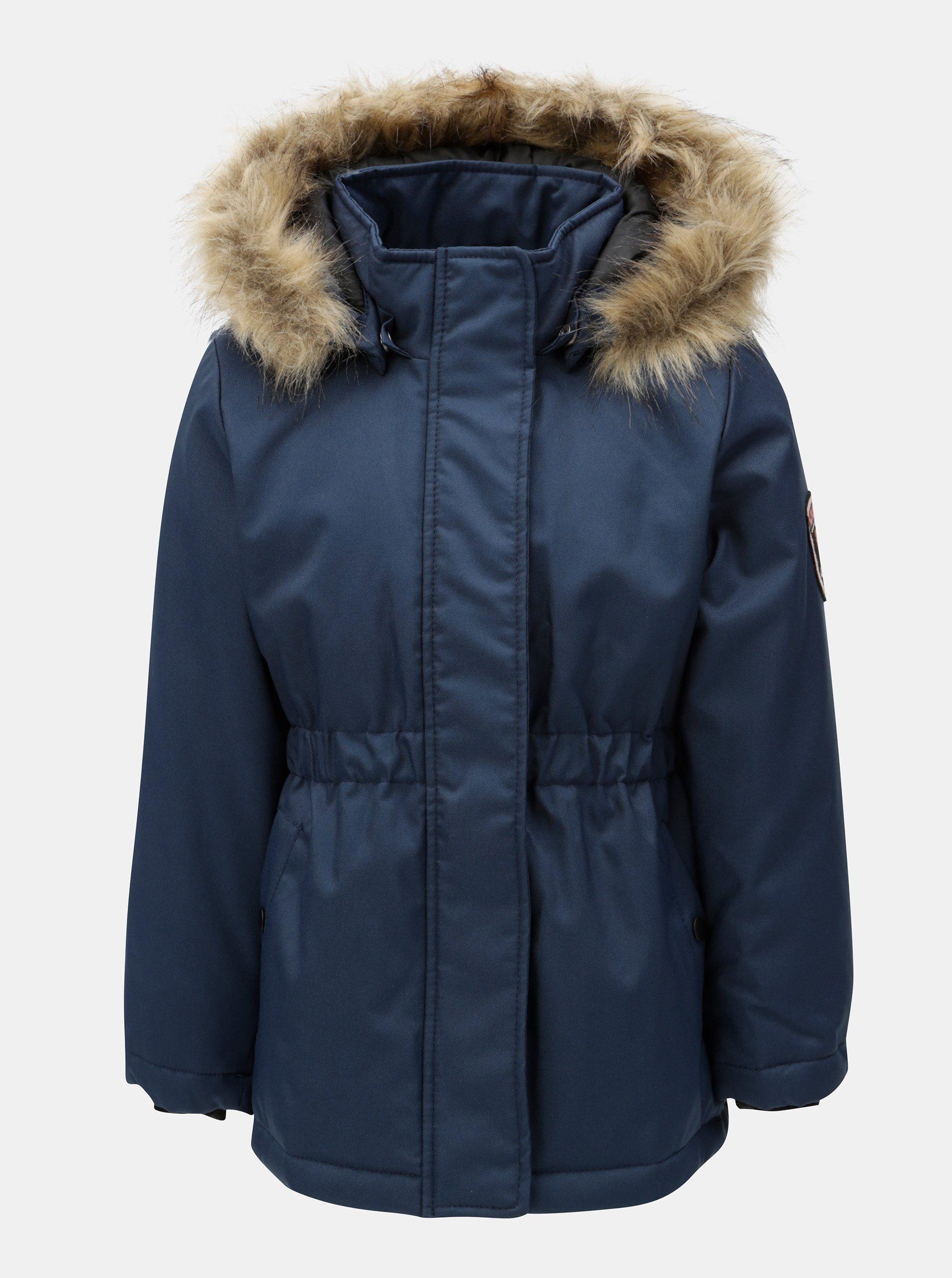 Modrá holčičí zimní bunda s kapucí Name it Molly