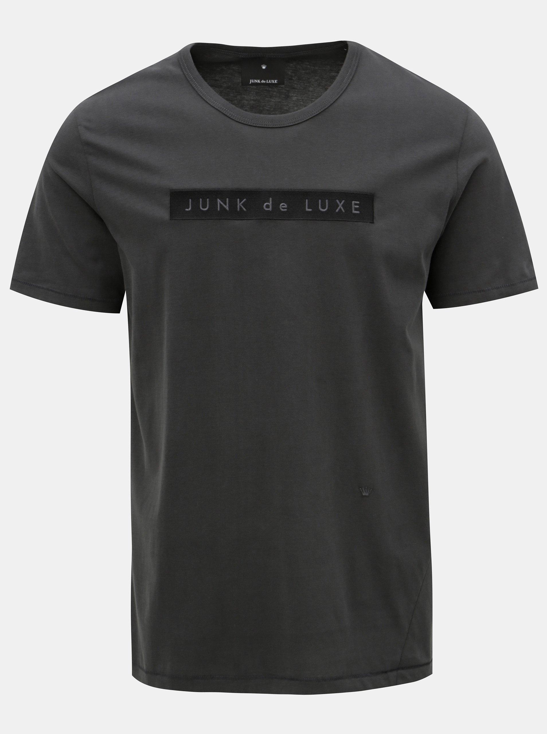 70aa92bf0ca Šedé tričko s výšivkou JUNK de LUXE