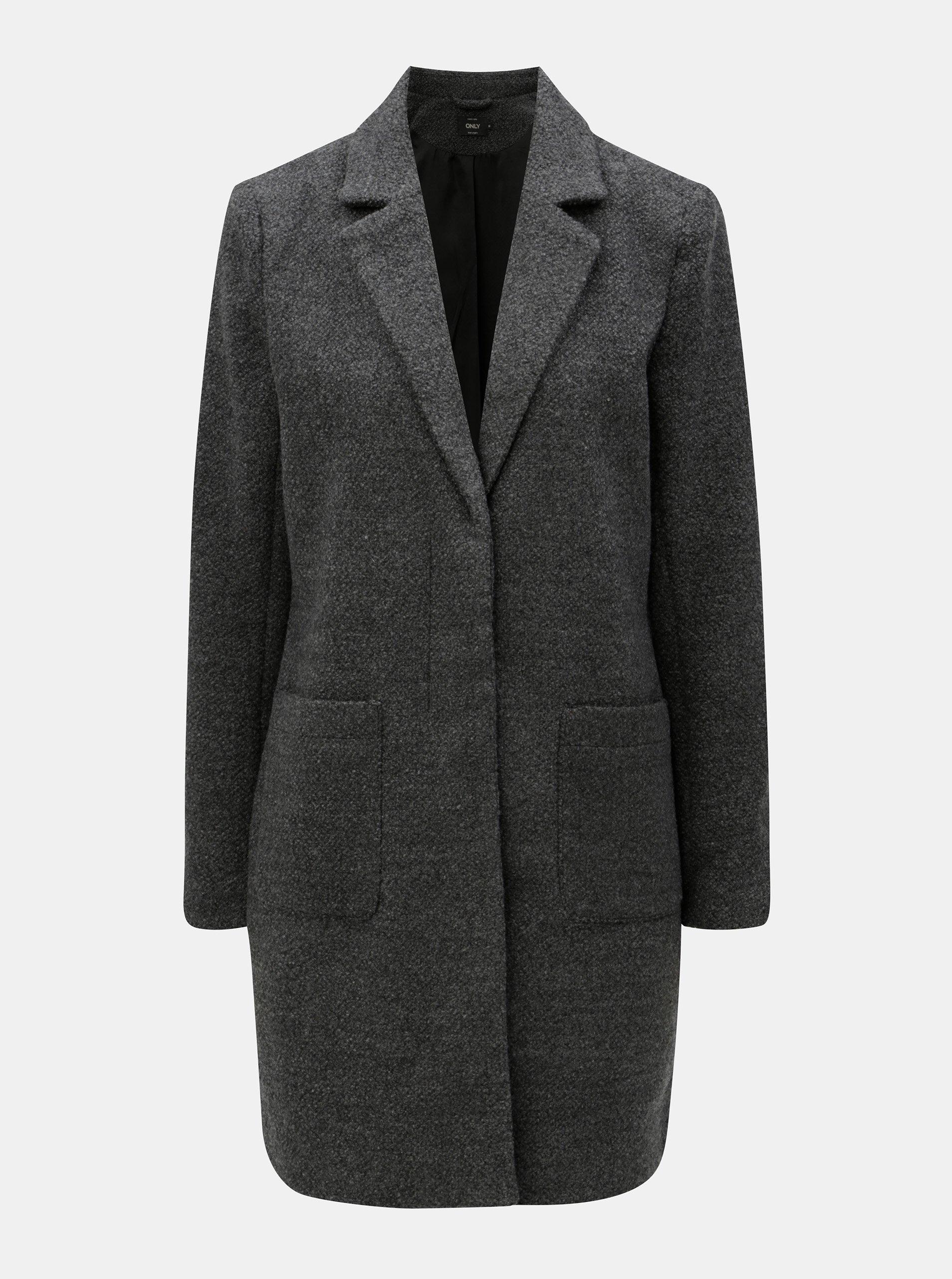 Tmavosivý tenký kabát s prímesou vlny ONLY