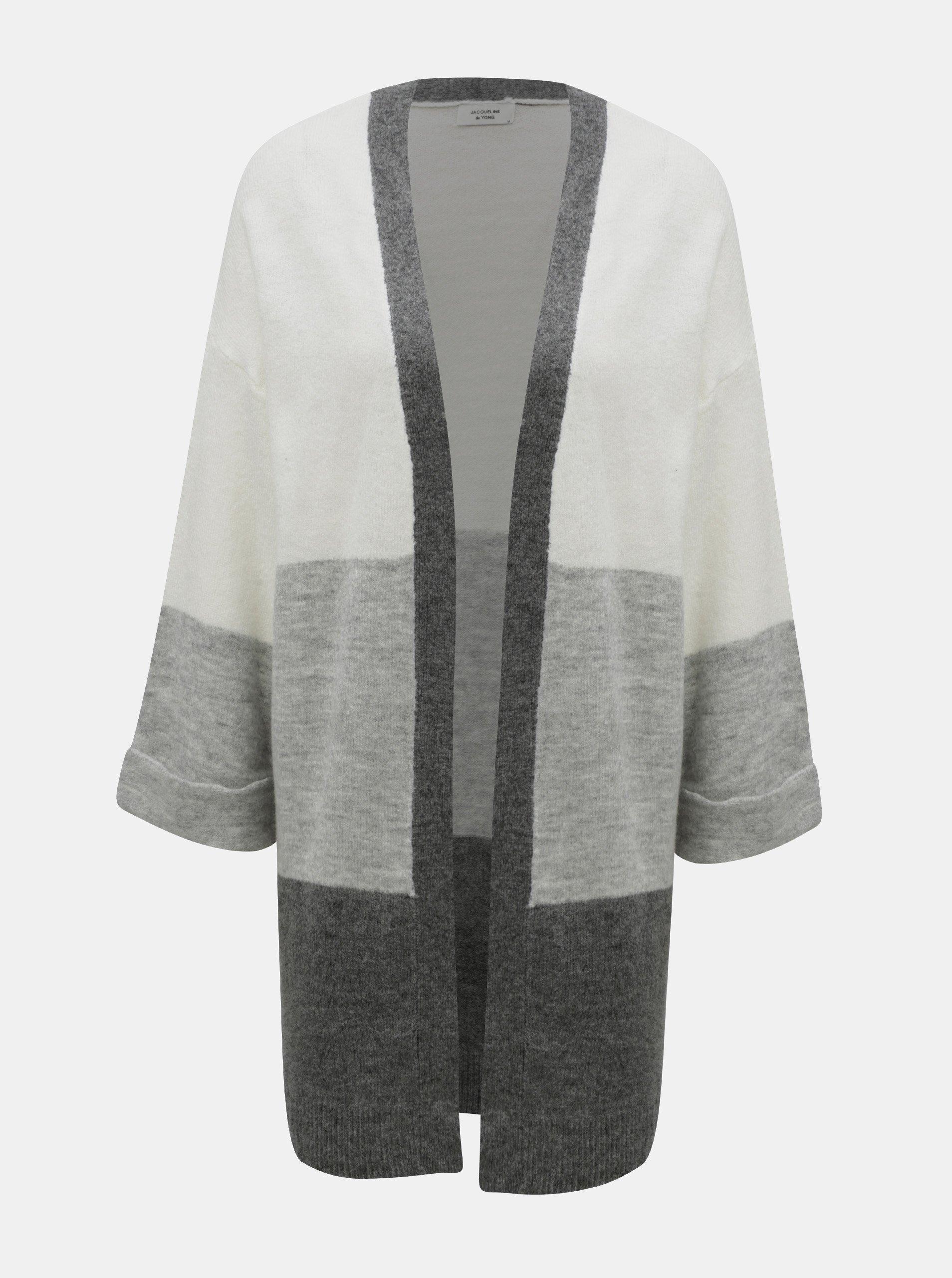 Krémovo-šedý žíhaný kardigan s volnými rukávy Jacqueline de Yong