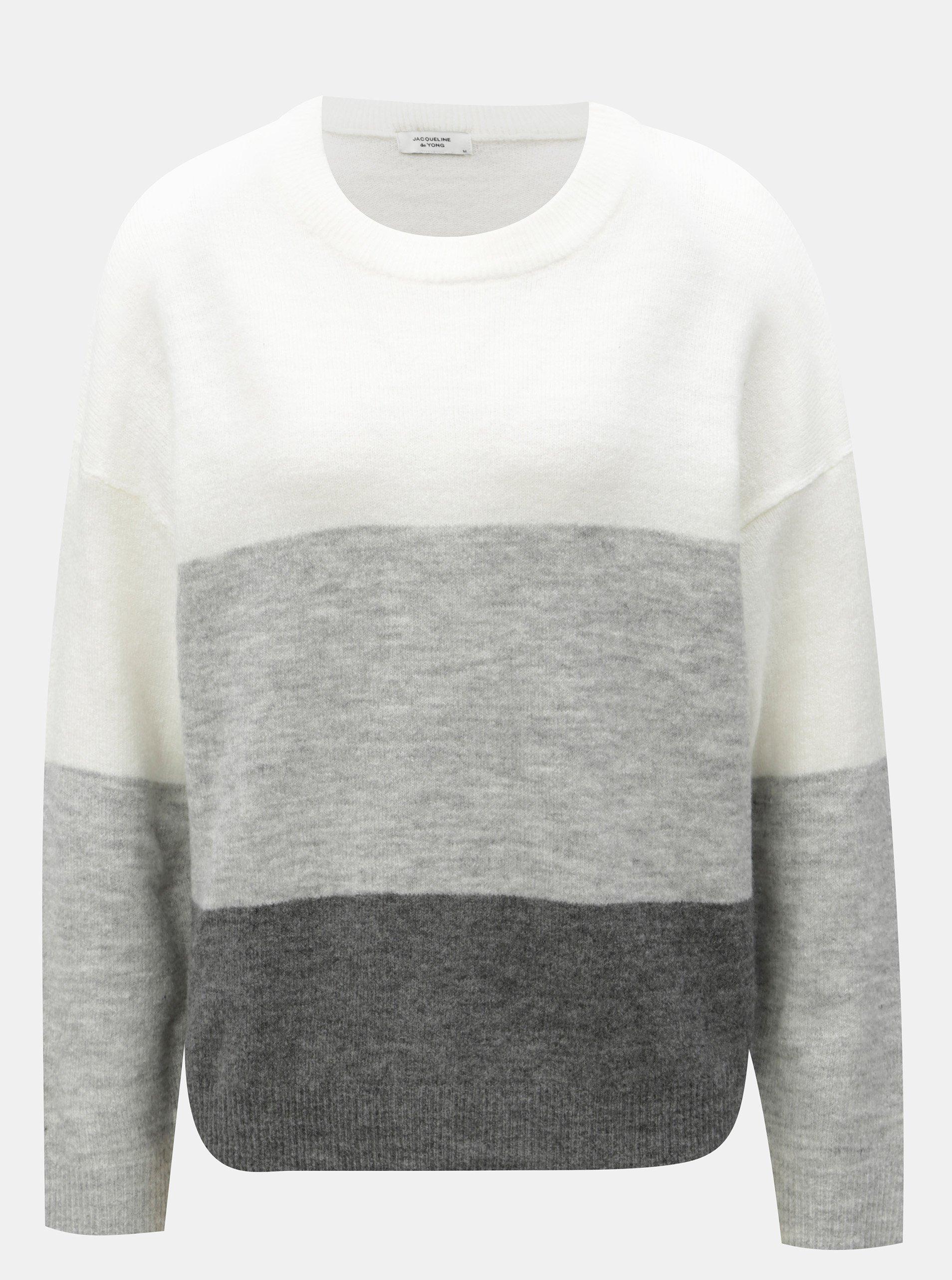 Krémovo-šedý žíhaný svetr s pruhy Jacqueline de Yong