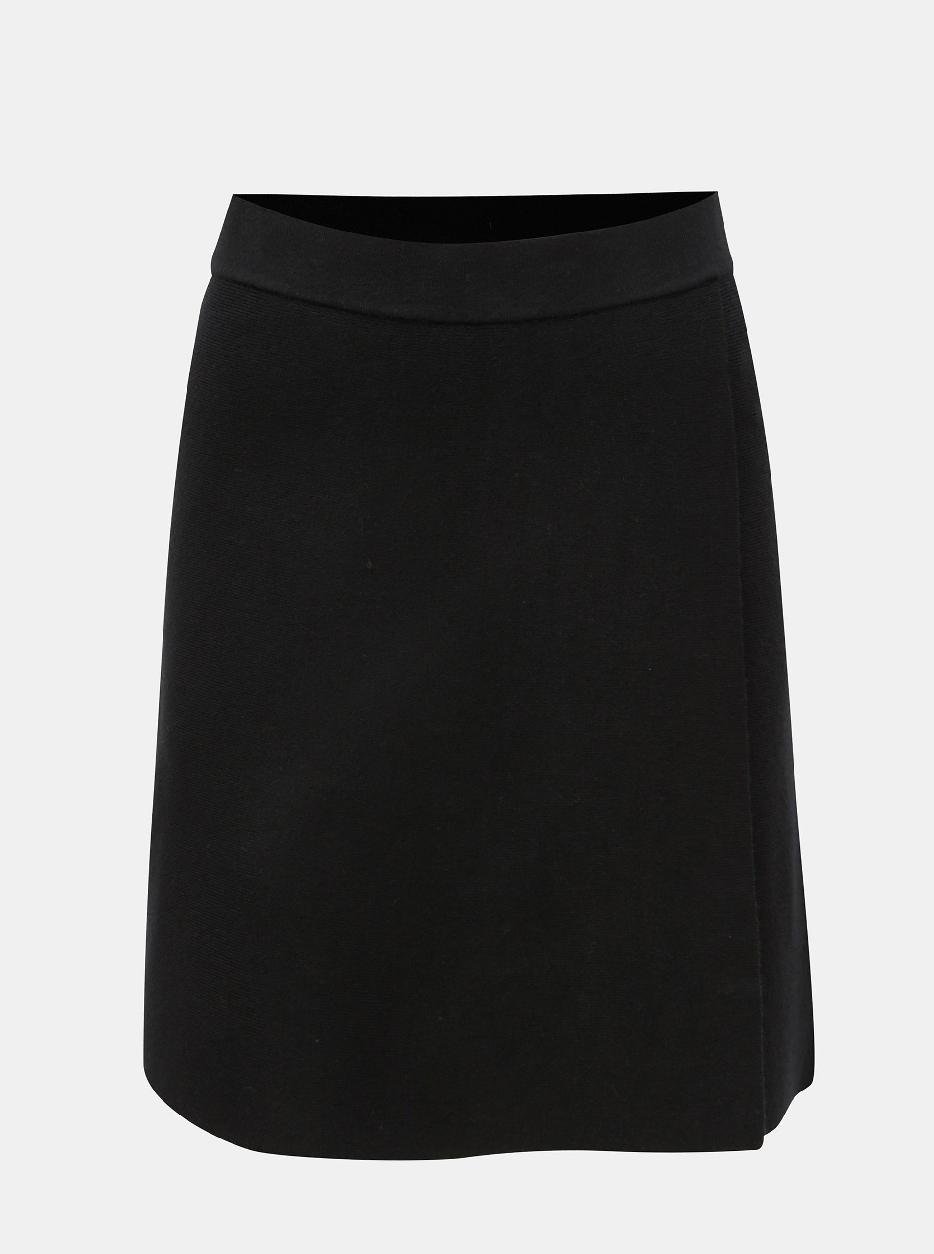 Černá sukně s překládanou přední částí Noisy May