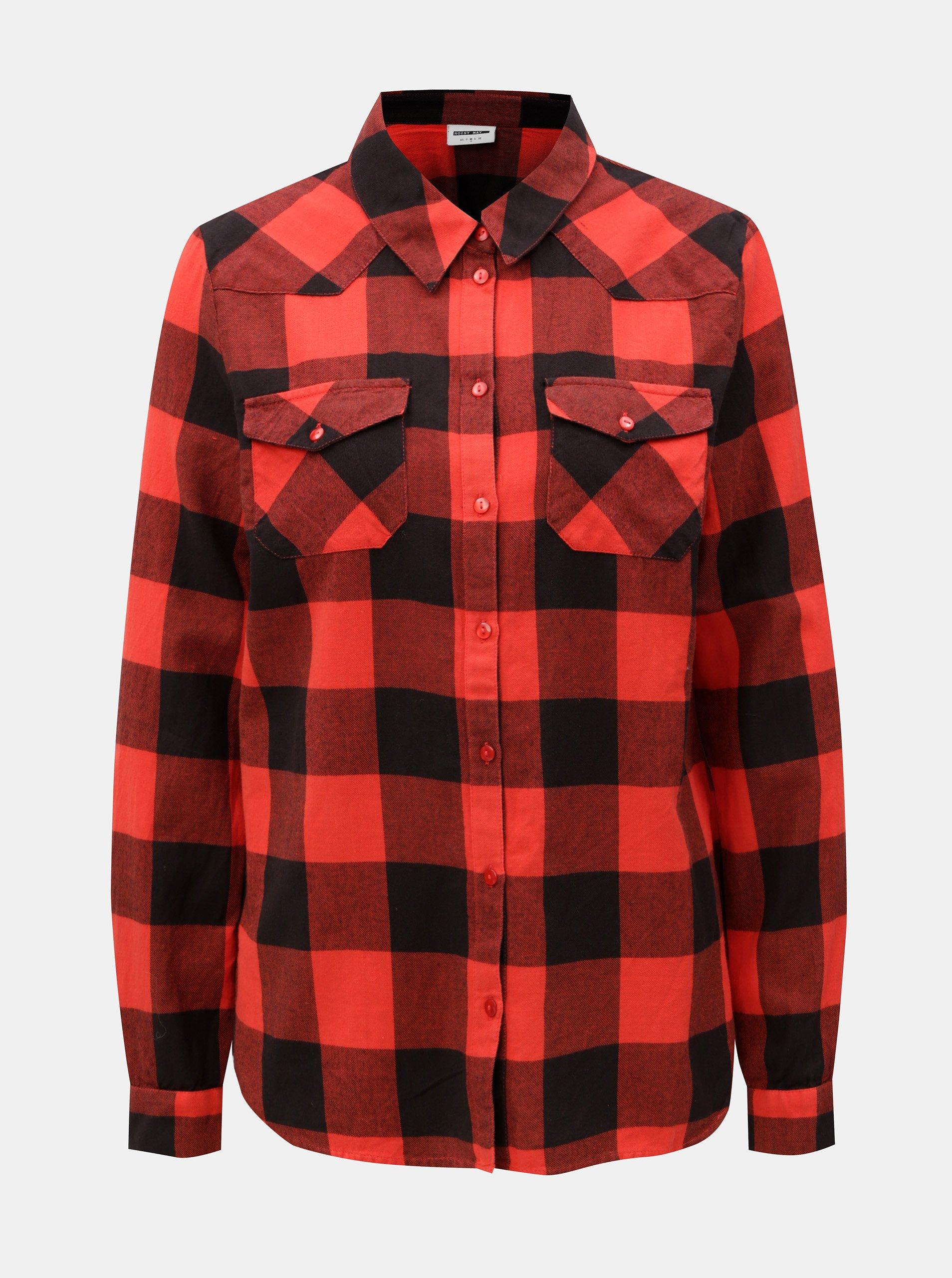 63183556340 Černo-červená kostkovaná košile Noisy May