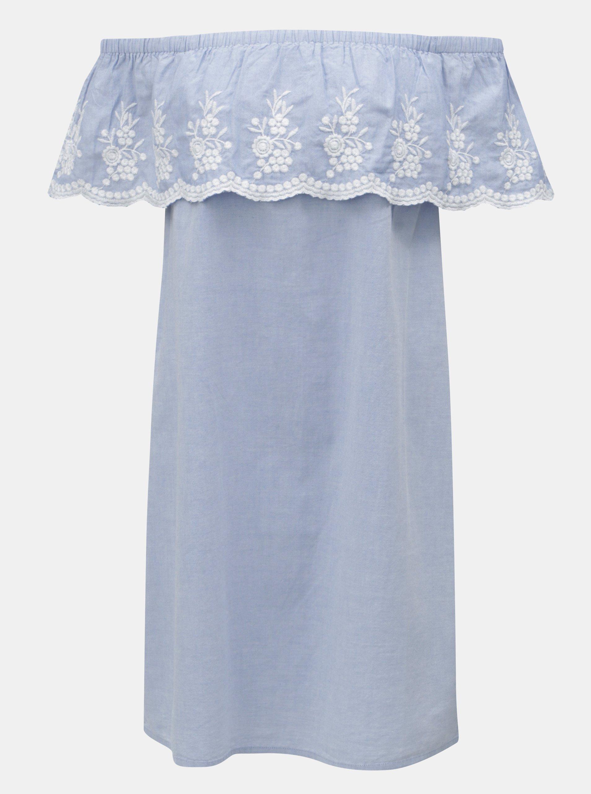 Světle modré šaty s volánem a výšivkou Dorothy Perkins 5536f6a254