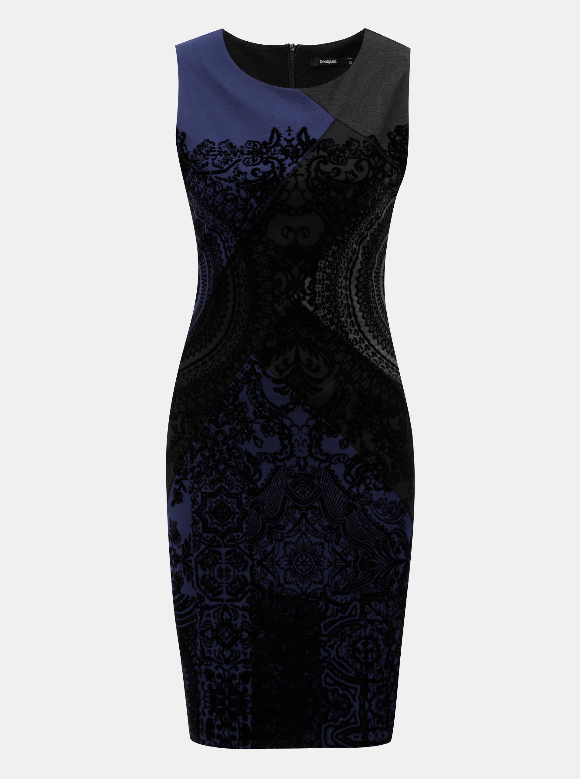 Modro–čierne puzdrové vzorované šaty Desigual