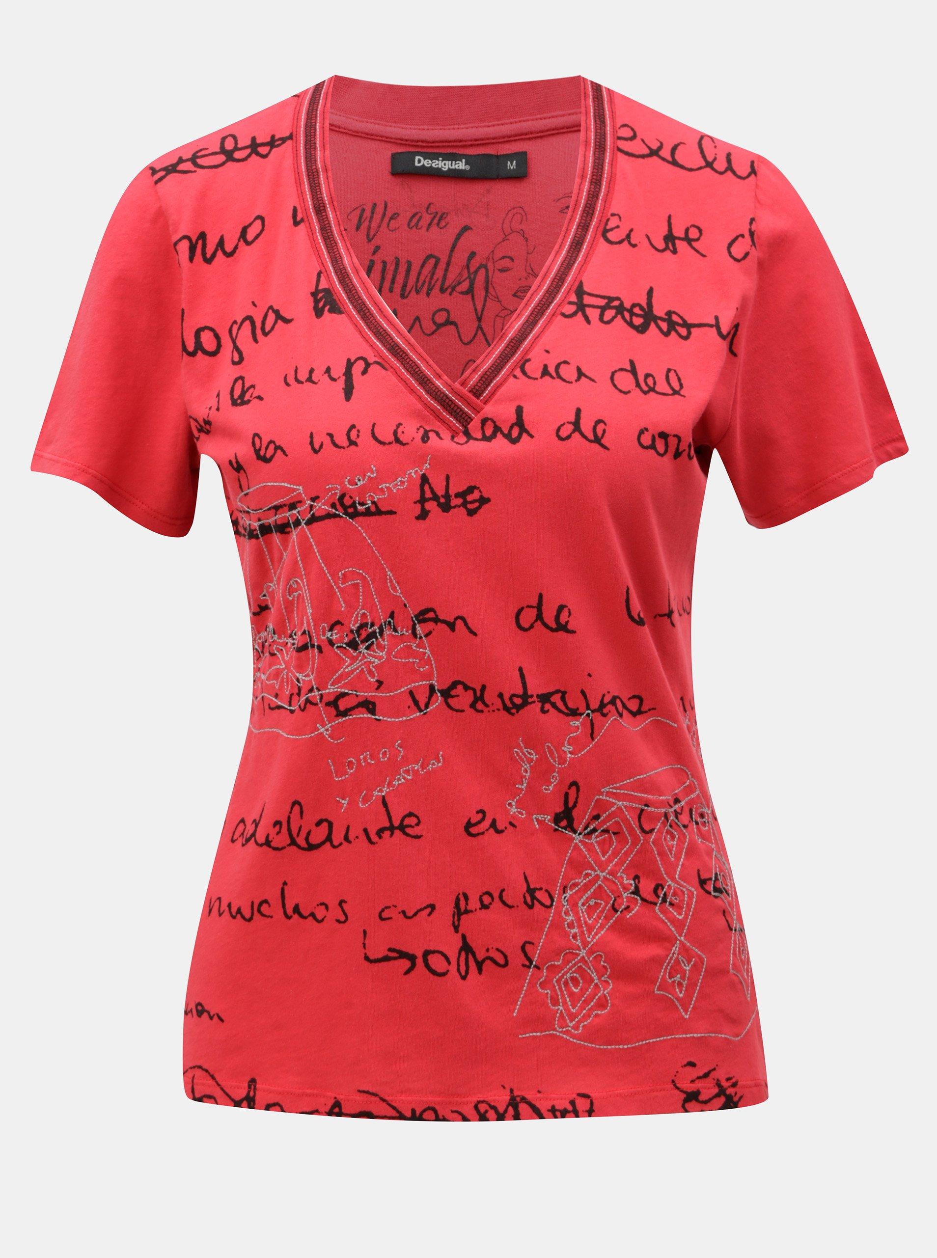 Červené tričko s potlačou Desigual