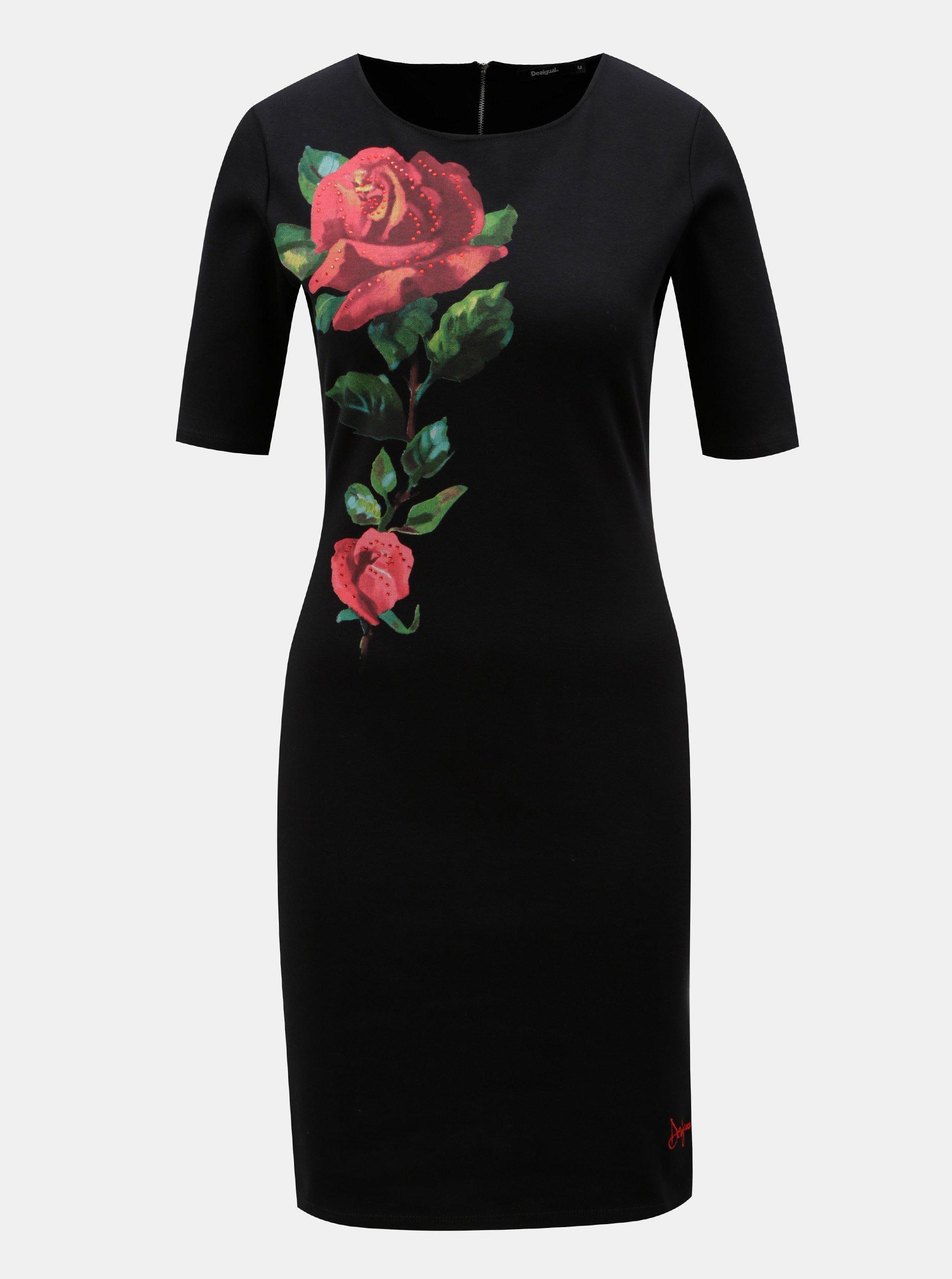 Černé pouzdrové šaty s květinovým potiskem Desigual Helga