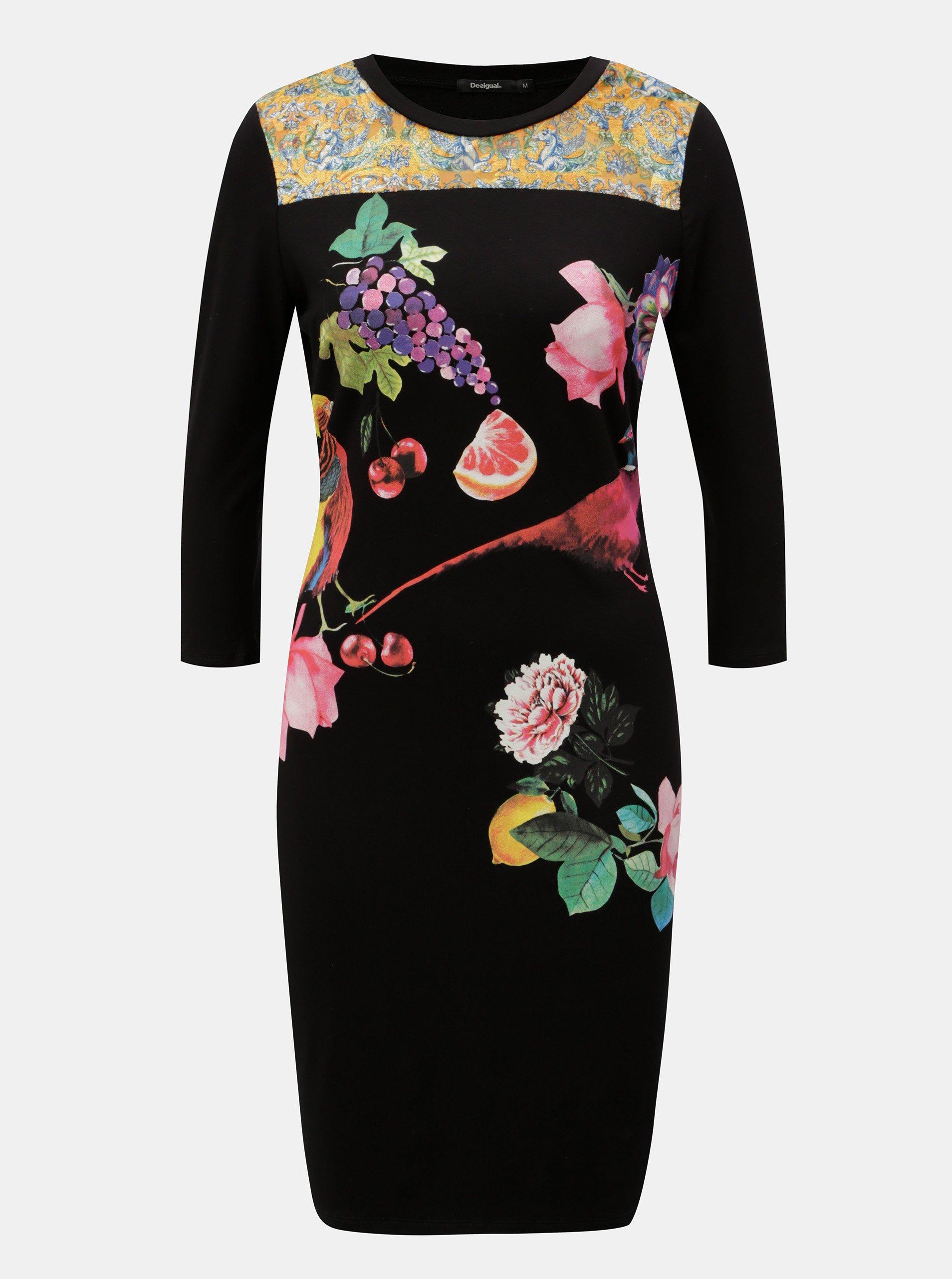 Černé pouzdrové šaty s potiskem a 3/4 rukávem Desigual Vanity