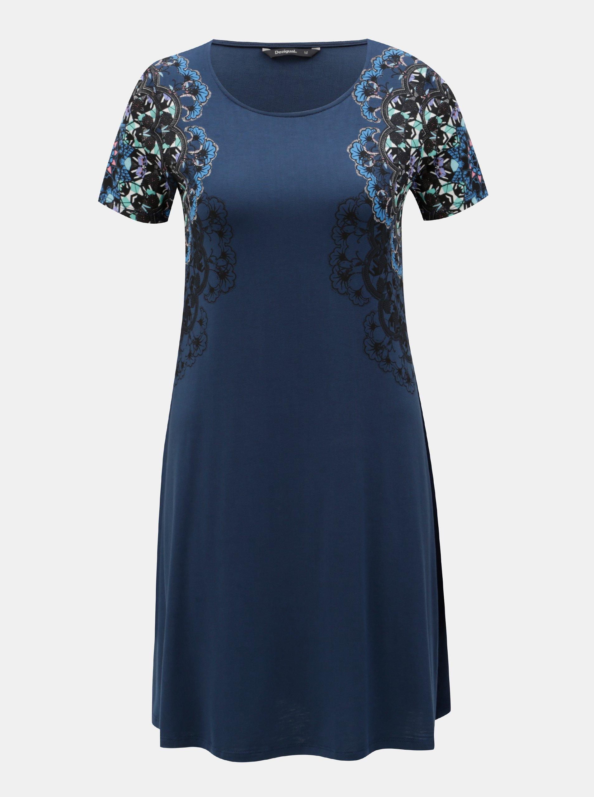 Tmavě modré šaty s potiskem a krátkým rukávem Desigual Cora 67fc71aee1
