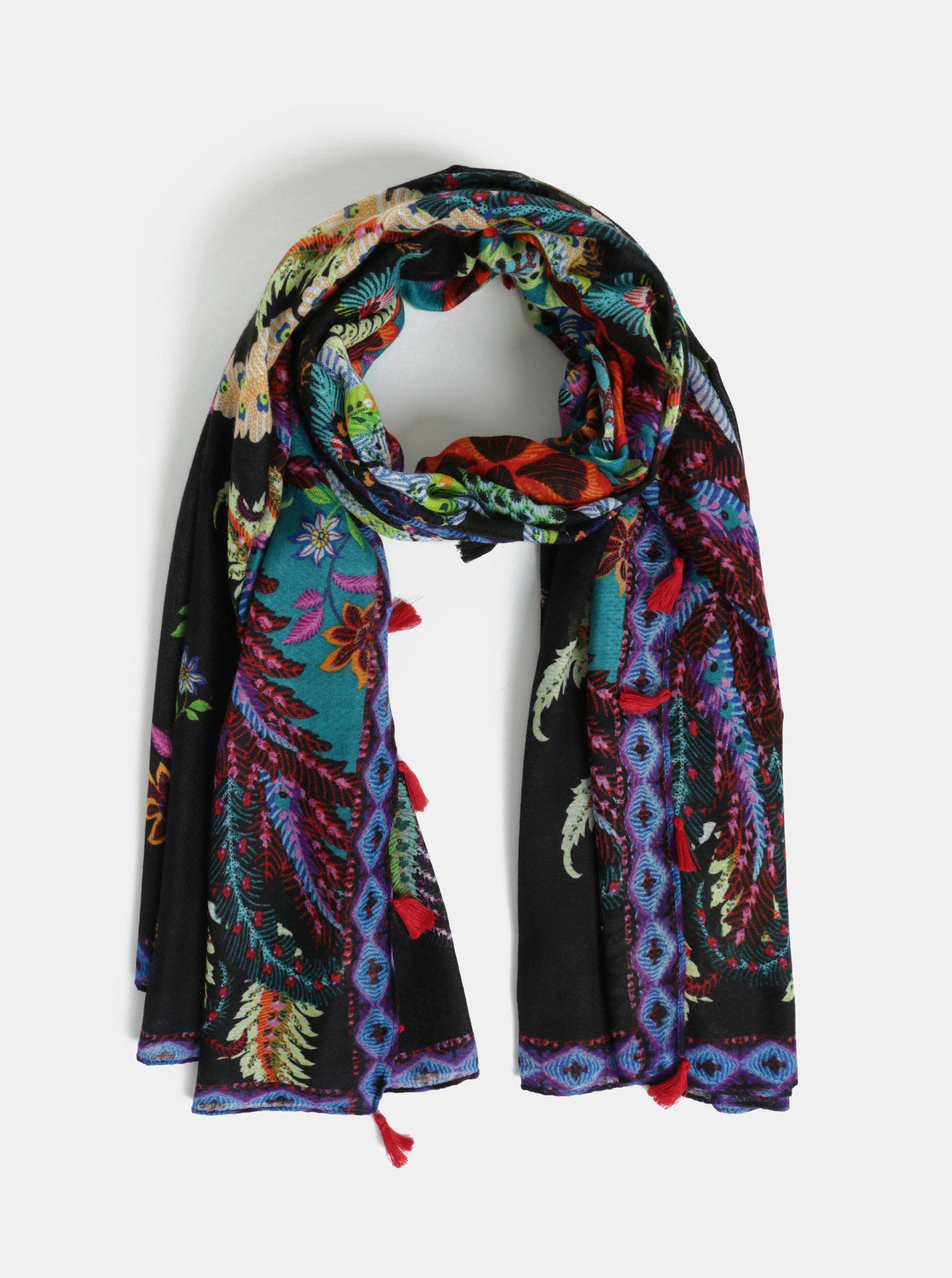 Černý vzorovaný šátek Desigual Feather 55e69f5889