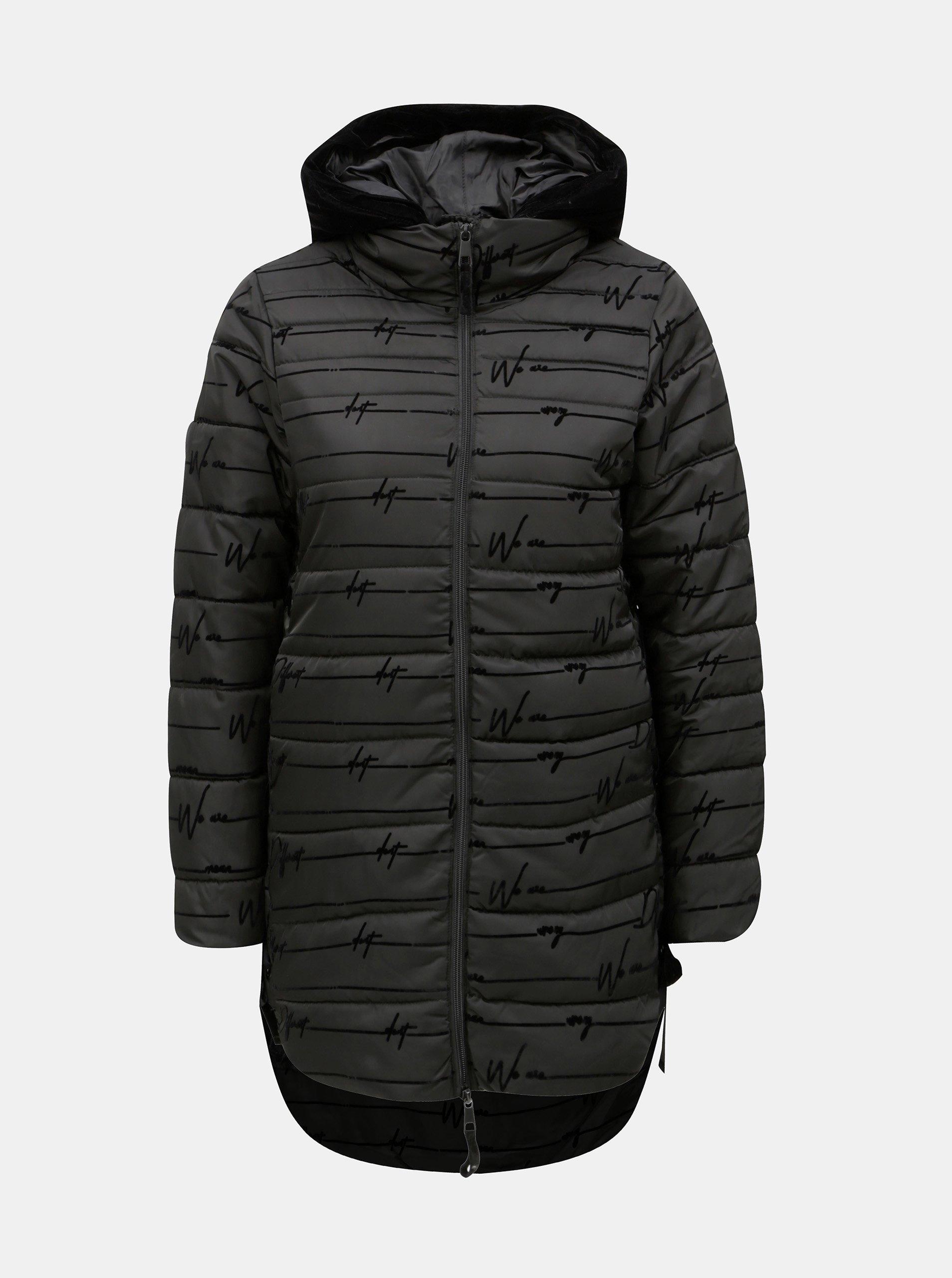 Černý prošívaný zimní kabát se šněrováním Desigual Lucille