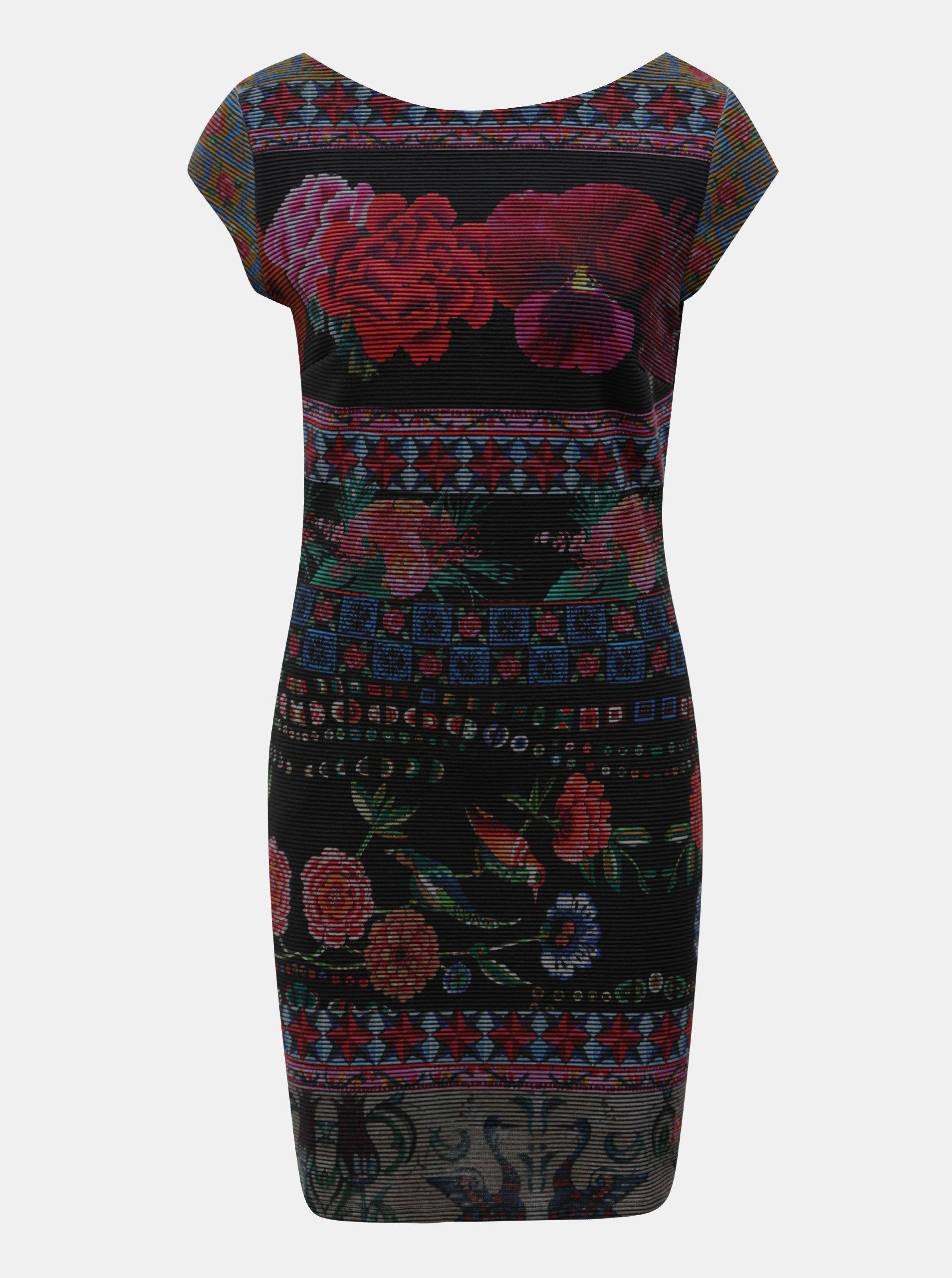 474628e628fe Vínovo-černé žebrované květované šaty Desigual