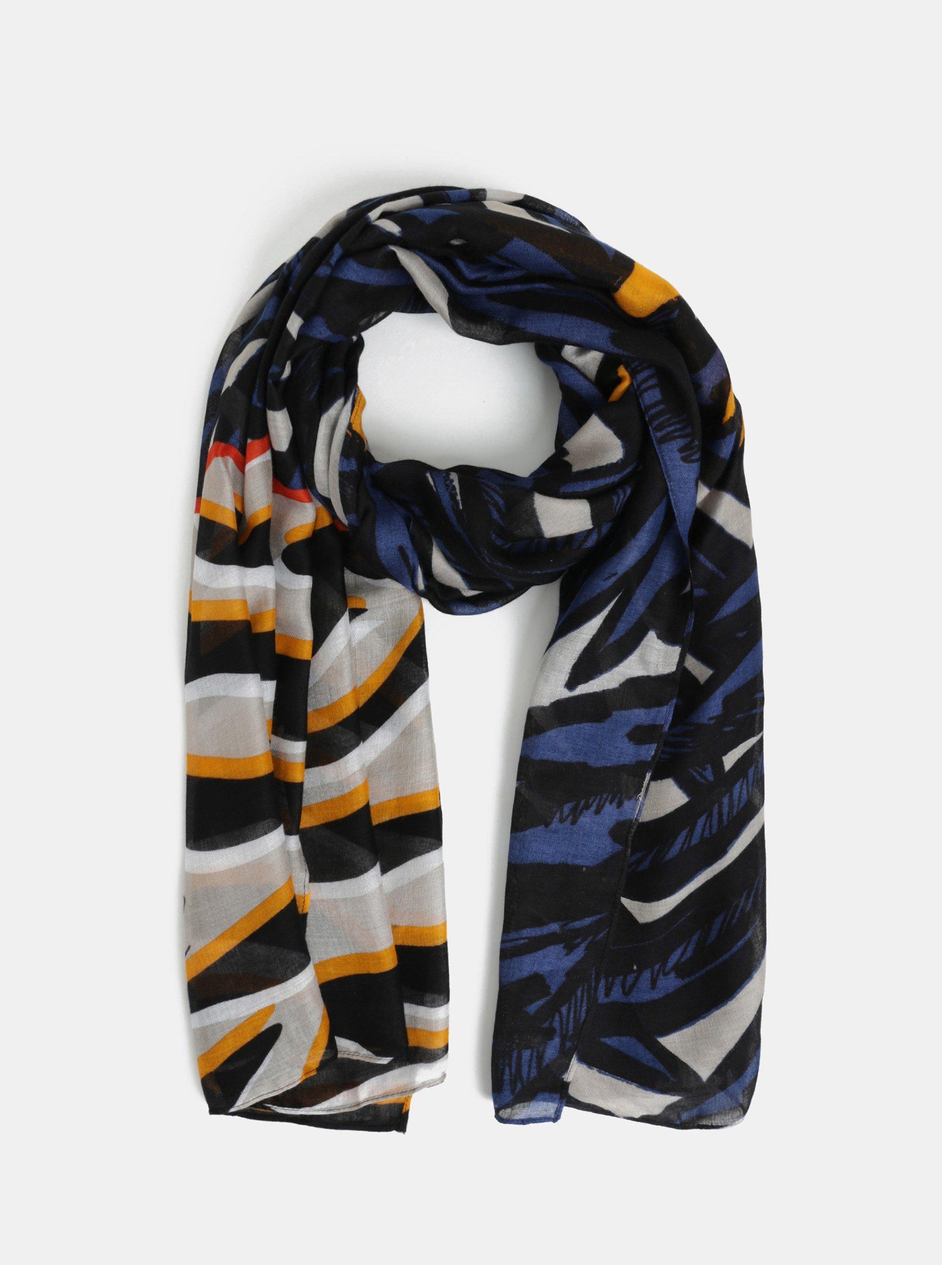 Černý vzorovaný šátek Desigual Jungle c9d325e8d2